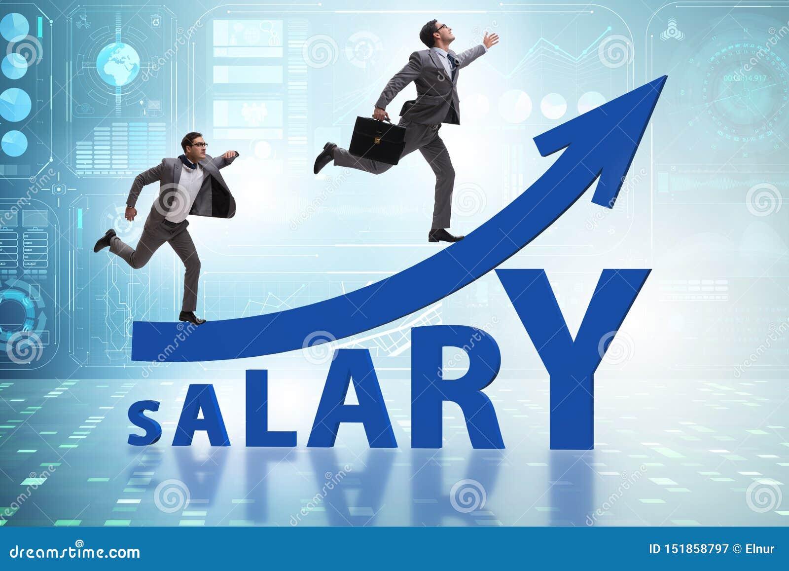 Concepto de sueldo cada vez mayor con el hombre de negocios