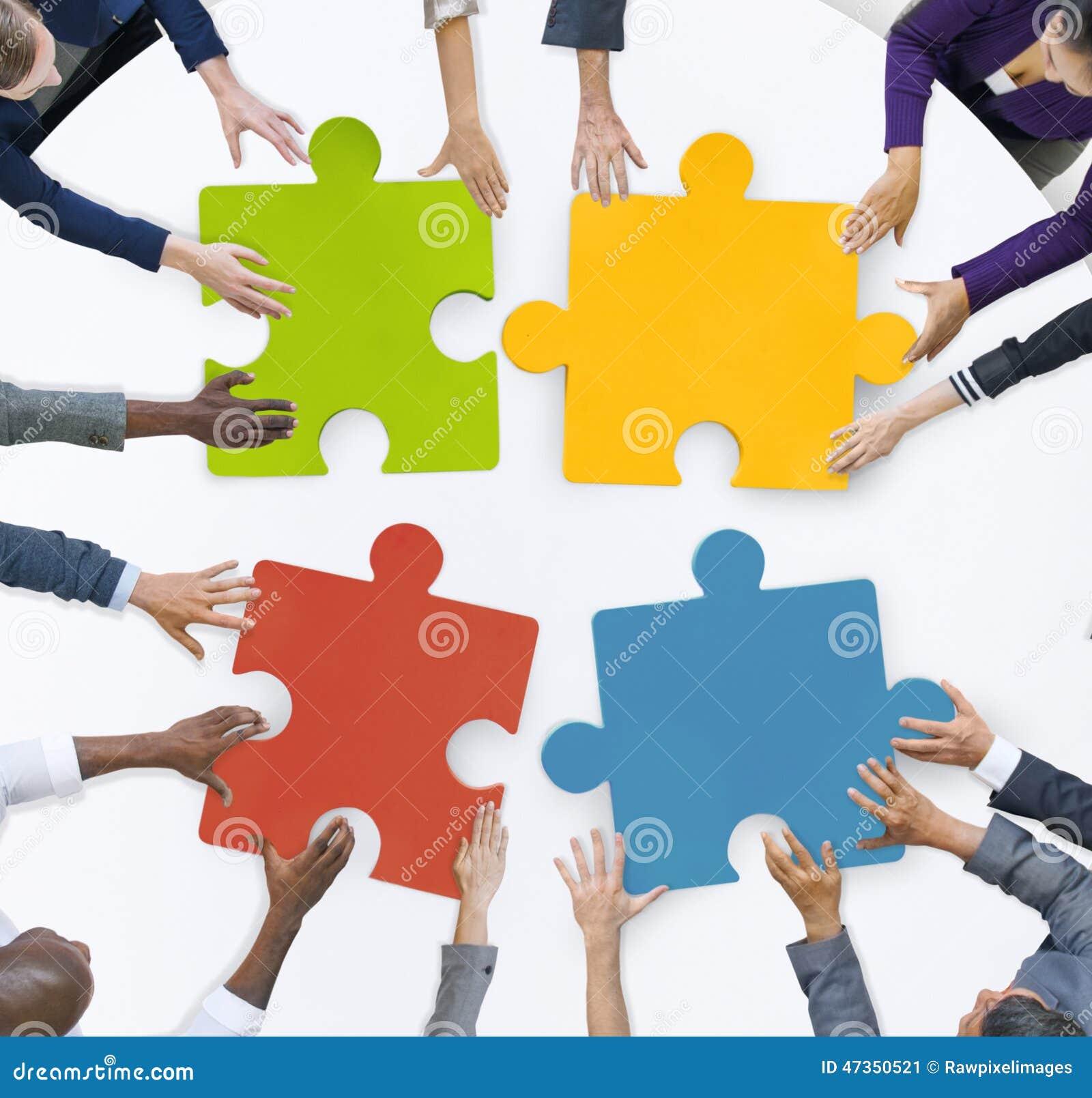 Concepto de Team Meeting Unity Jigsaw Puzzle del negocio del trabajo en equipo