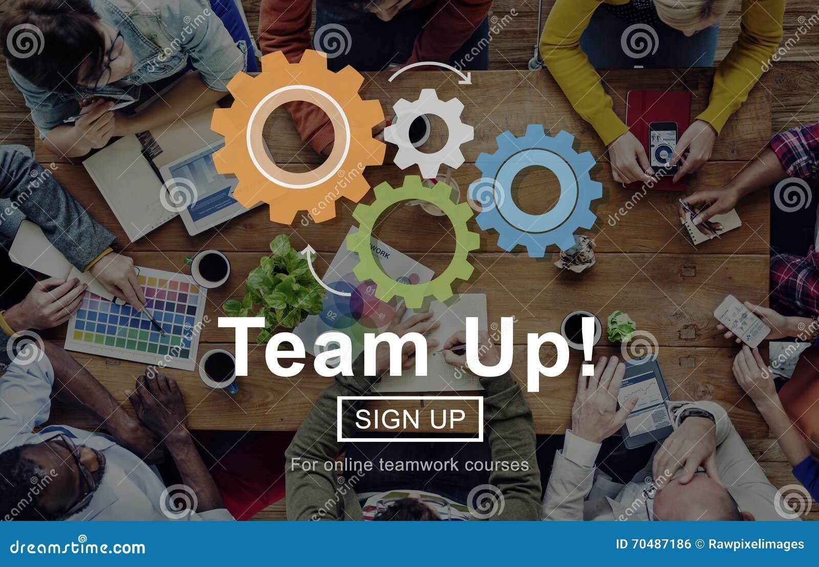 Concepto de Team Up Teamwork Collaboration Togetherness