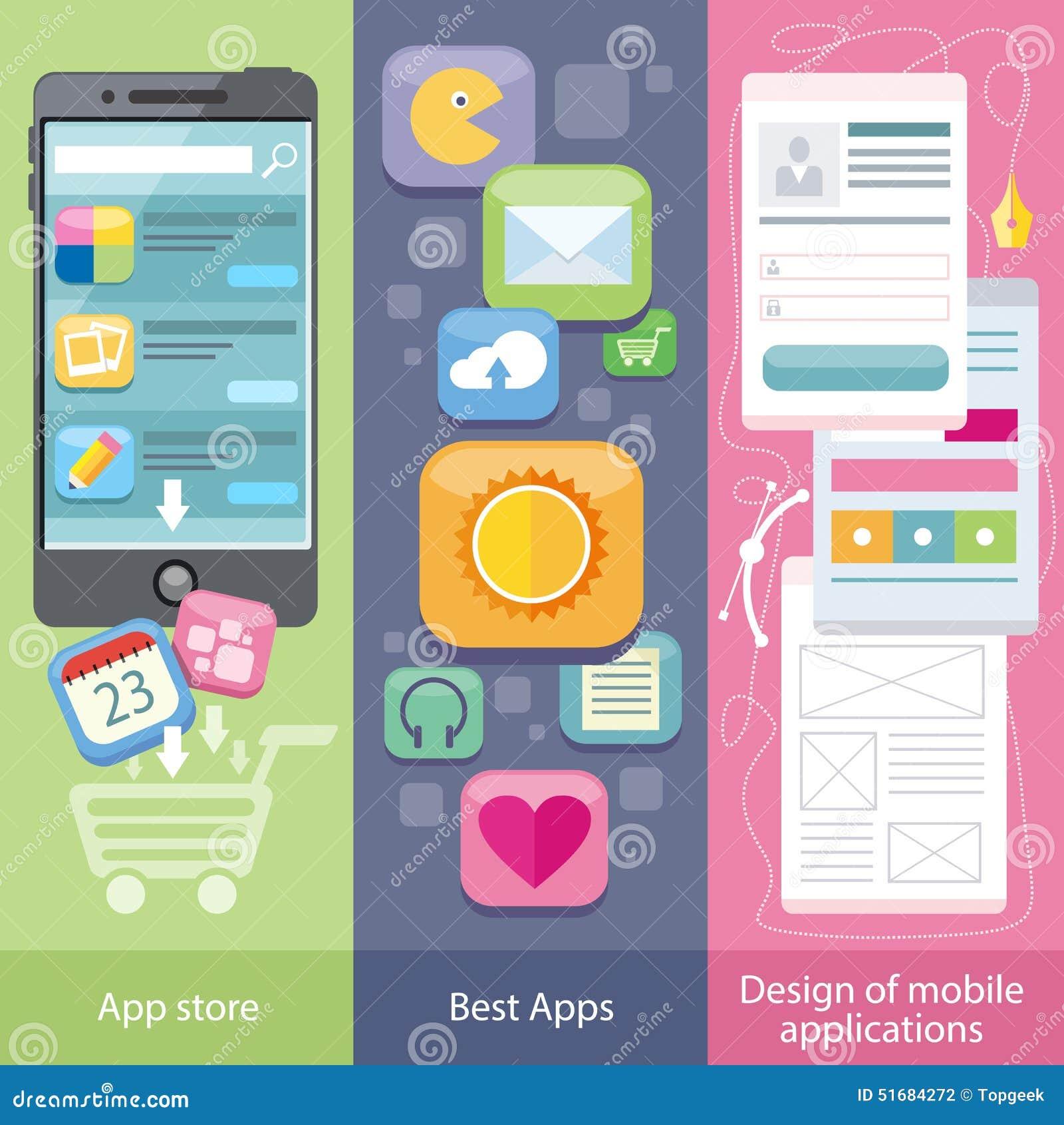 Concepto de tienda de la aplicación móvil