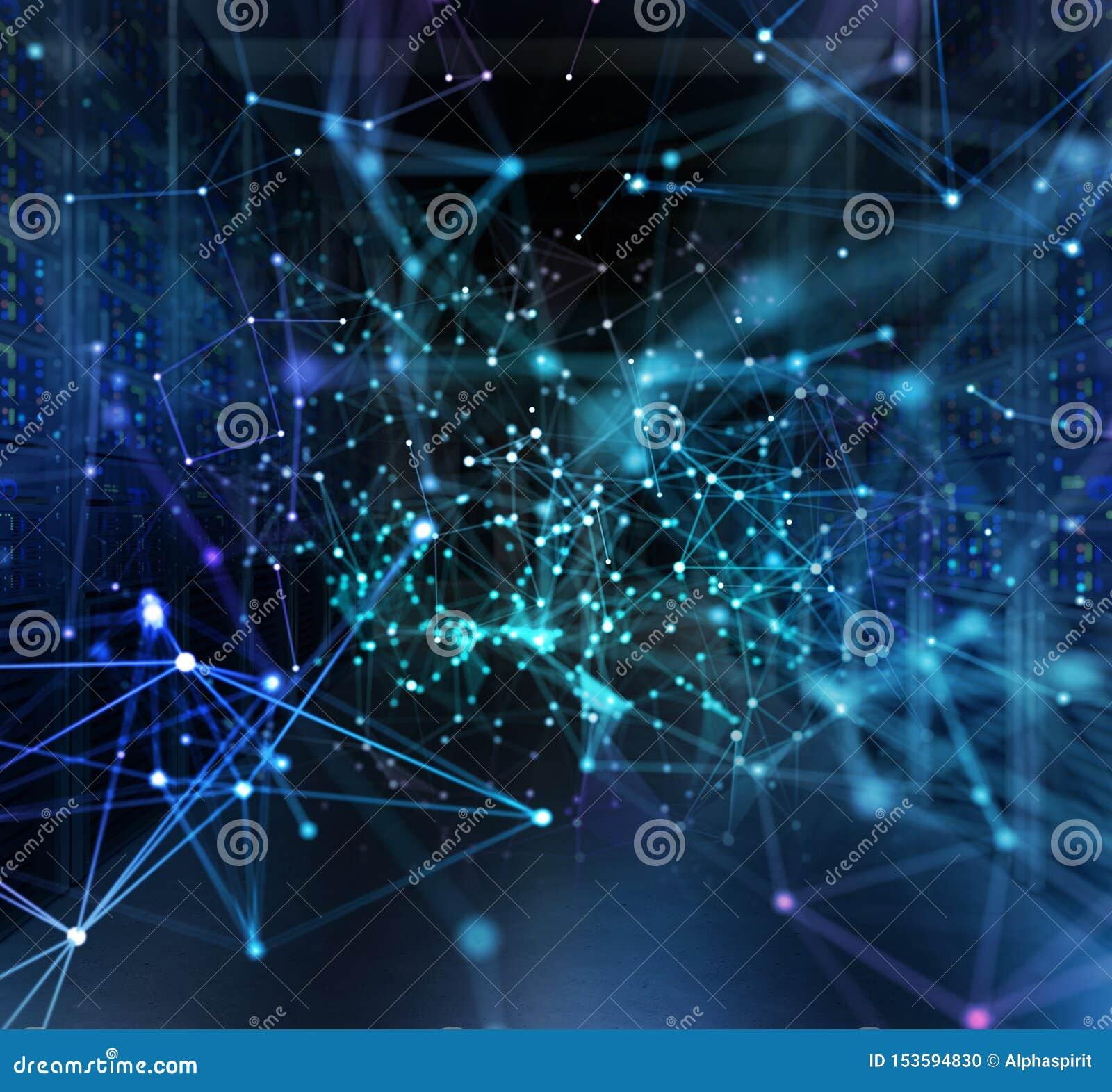 Concepto de un cuarto del centro de datos con los servidores y los efectos de la red