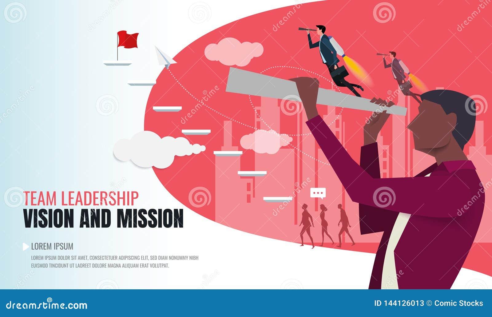 Concepto de Vision en negocio con el icono del vector del hombre de negocios y del telescopio