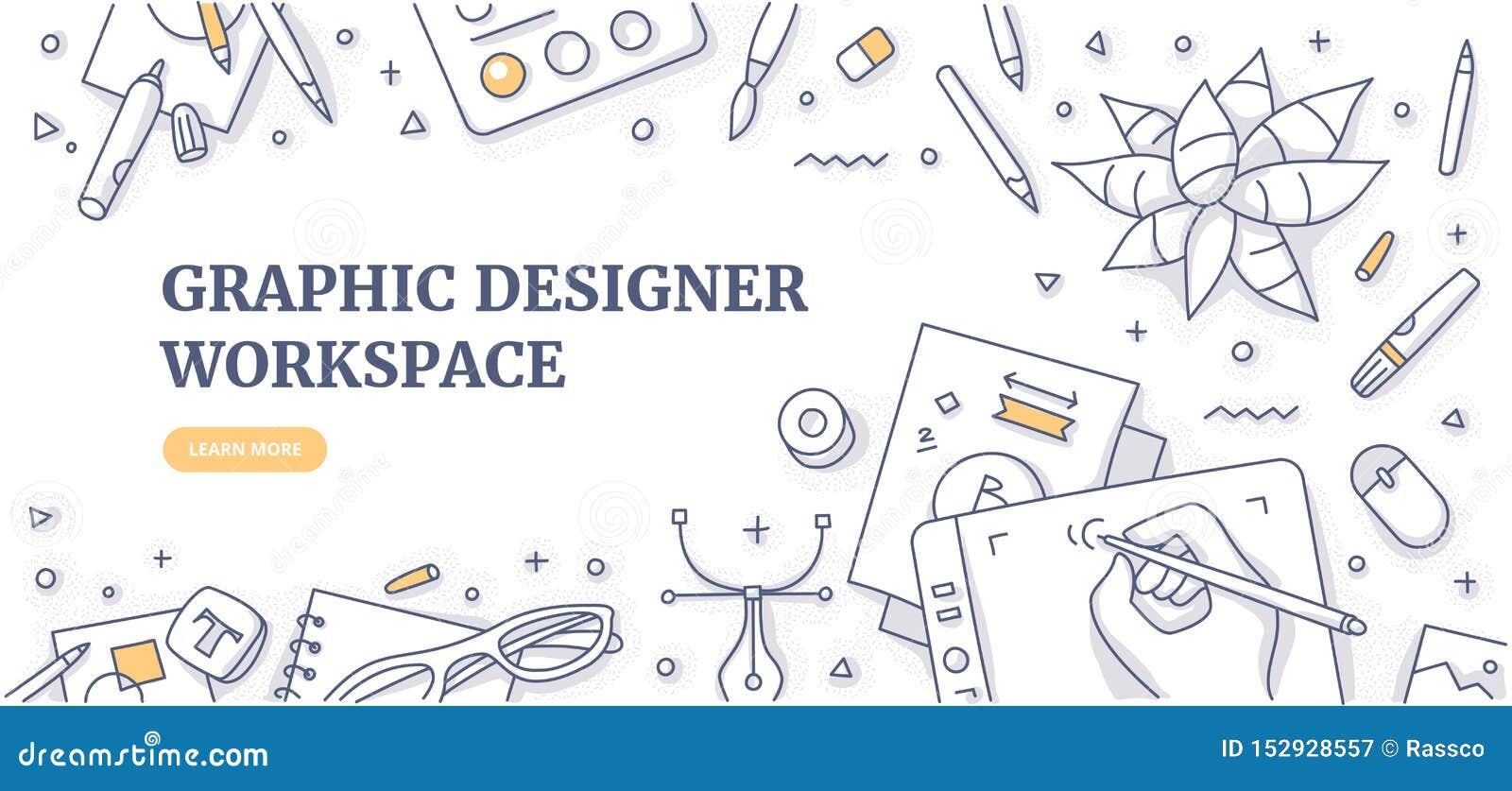Concepto de Worspace Doodle Background del diseñador gráfico