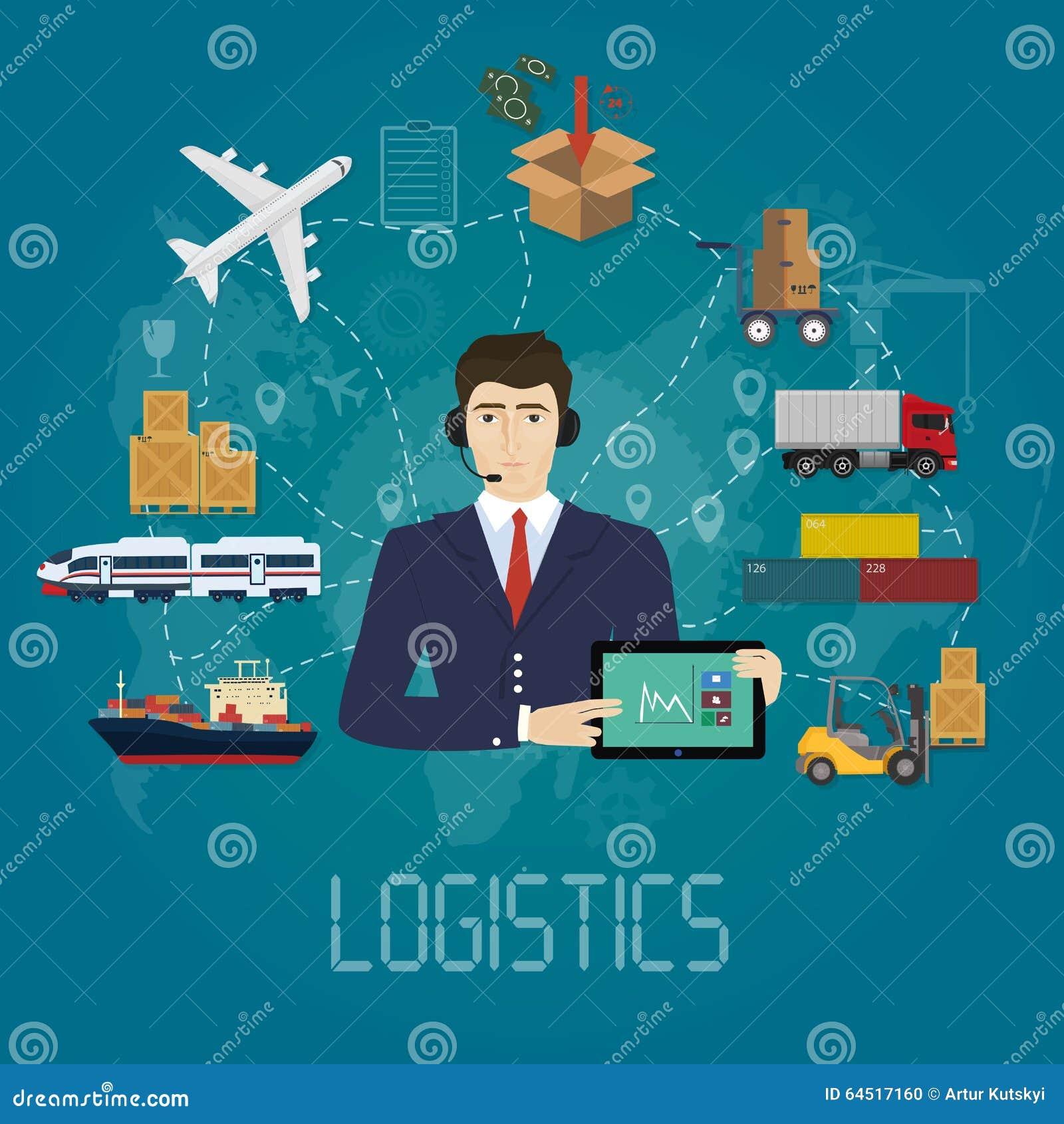 Concepto del agente del encargado de la logística del vector Ejemplo del servicio del vector del cargo de la entrega