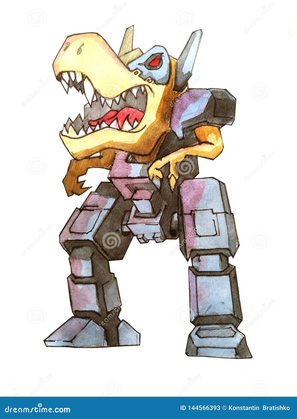 Concepto del bosquejo del robot de la batalla de Dino