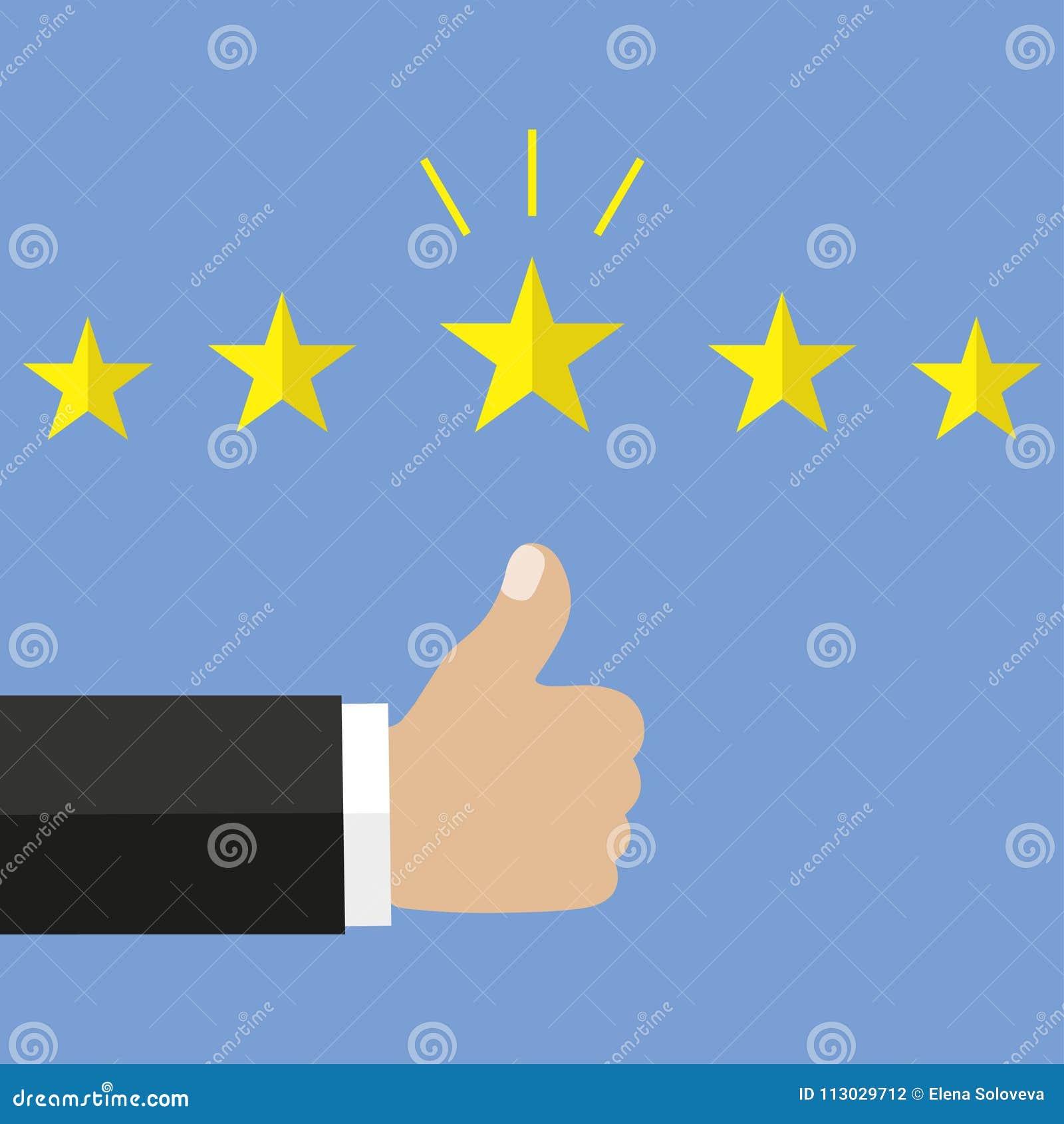Concepto del comentario del cliente Estrellas de oro de clasificación