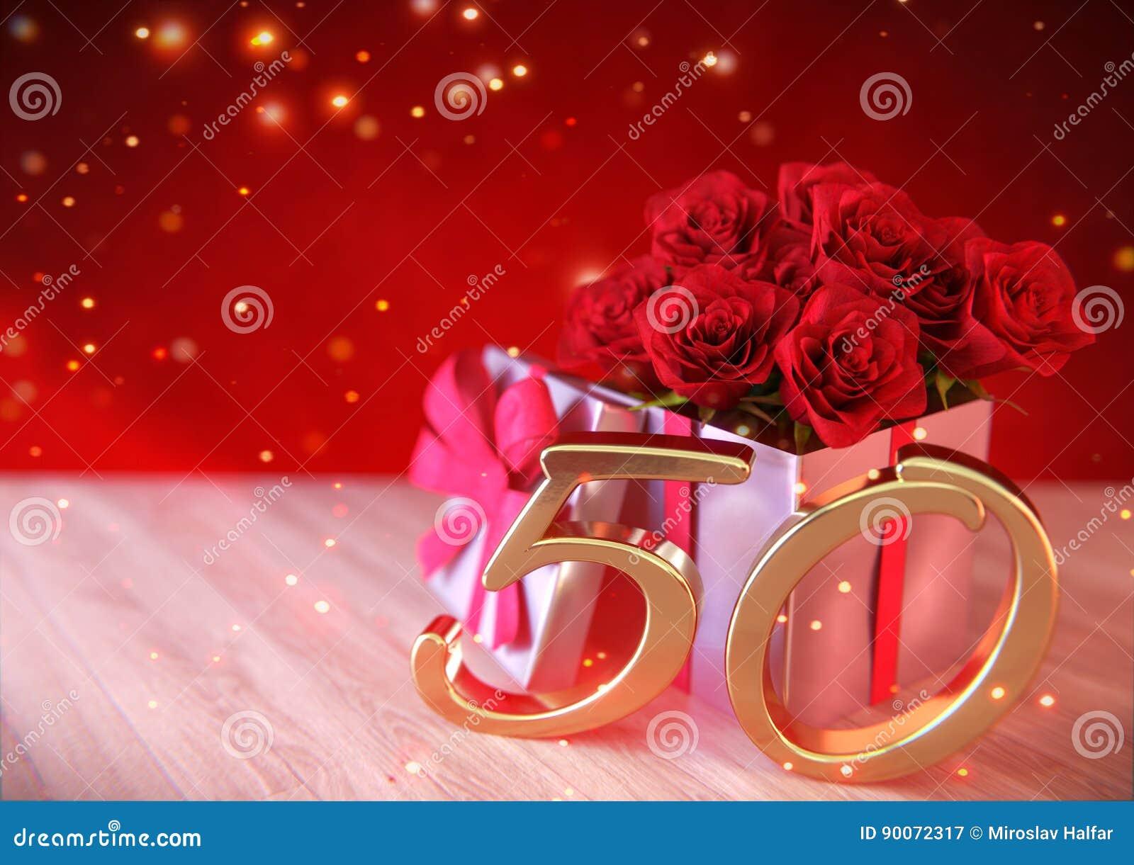 Concepto del cumpleaños con las rosas rojas en regalo en el escritorio de madera quincuagésimo cumpleaños 50.o 3d rinden