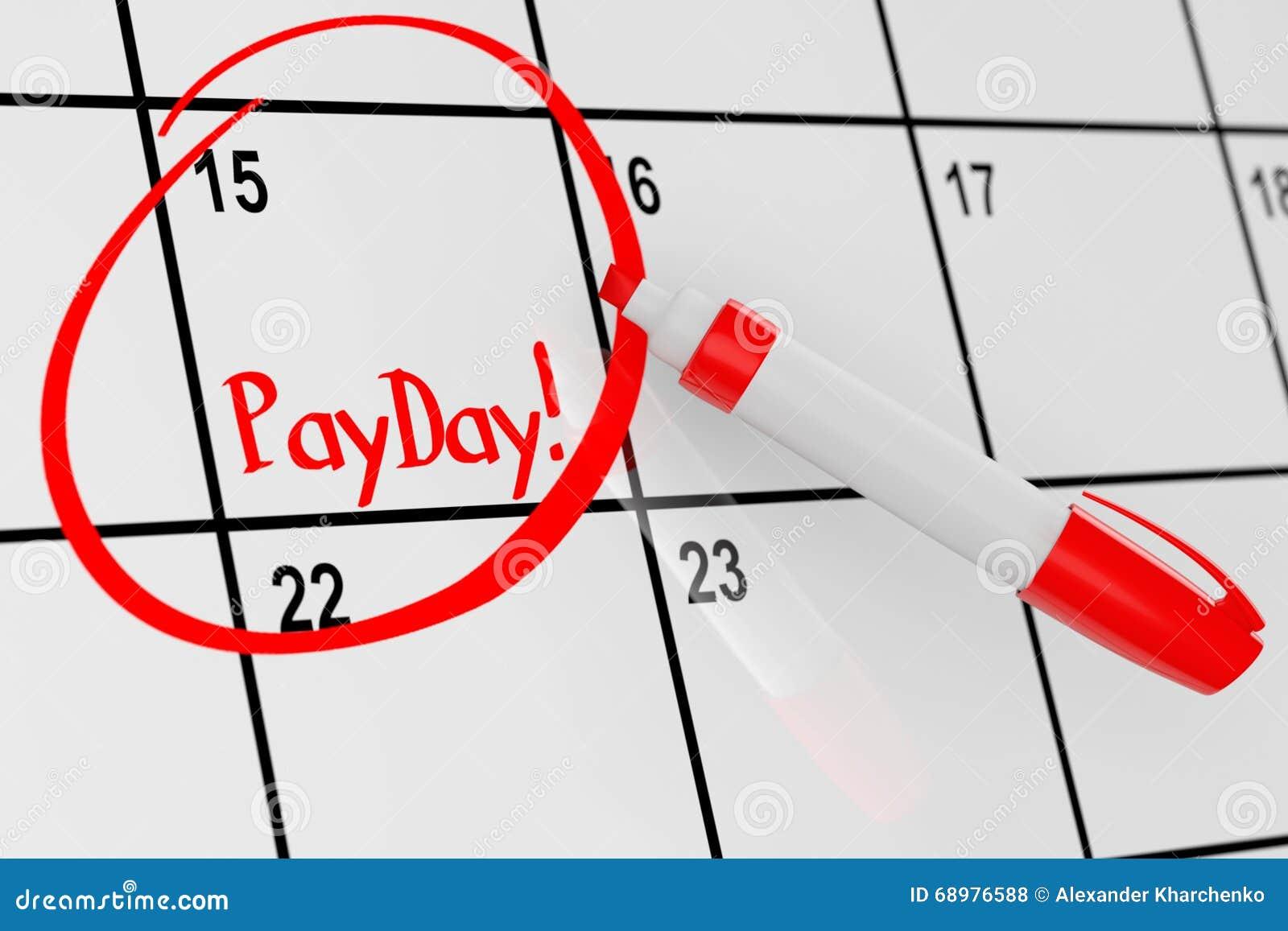 Concepto del día de paga El calendario con el marcador rojo y recuerda la muestra del día de paga
