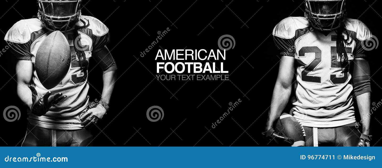 Concepto del deporte Jugador del deportista del fútbol americano en fondo negro con el espacio de la copia Concepto del deporte