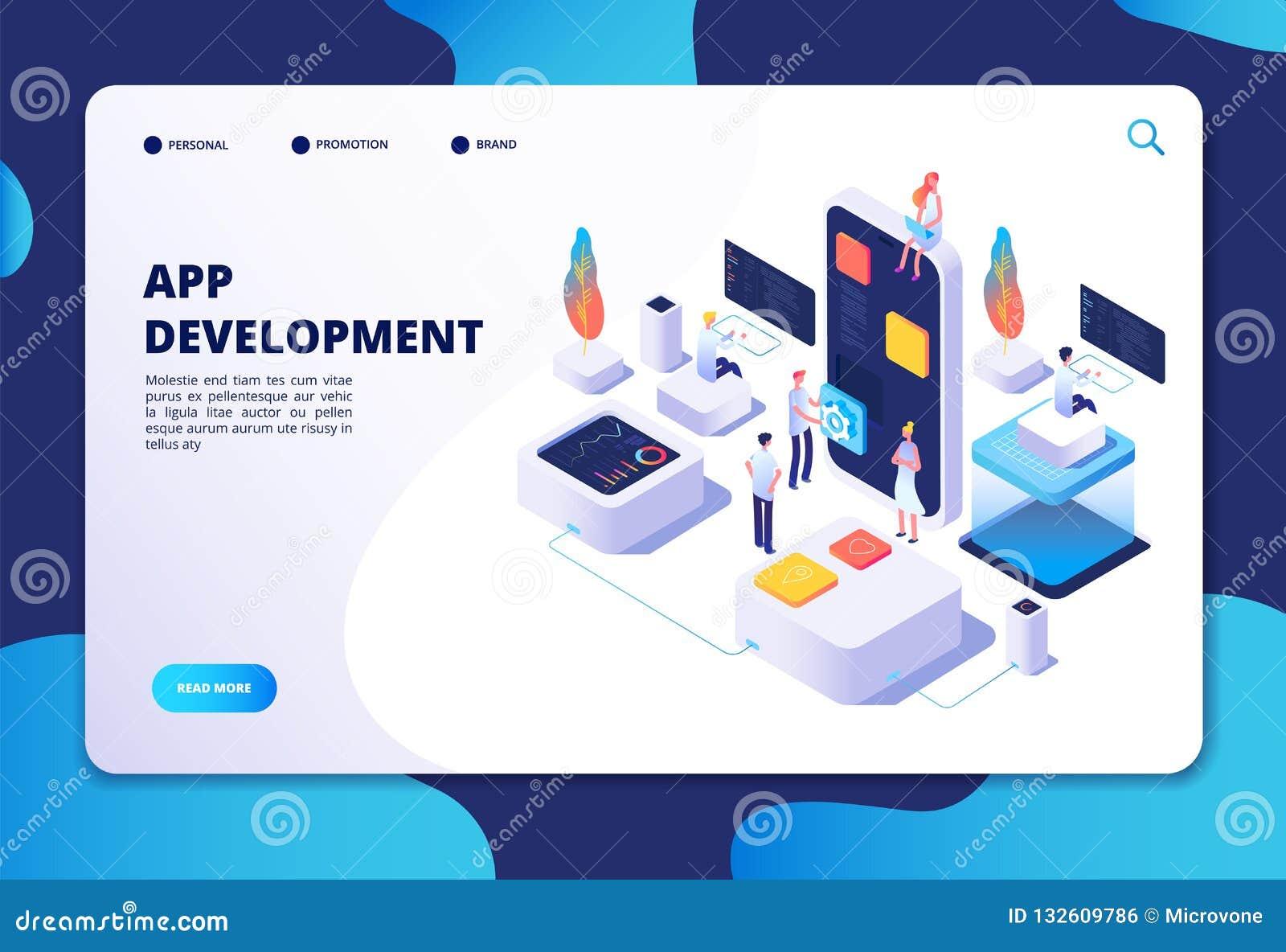 Concepto del desarrollo del App Trabajo del diseñador del desarrollador sobre la aplicación móvil del smartphone Vector isométric