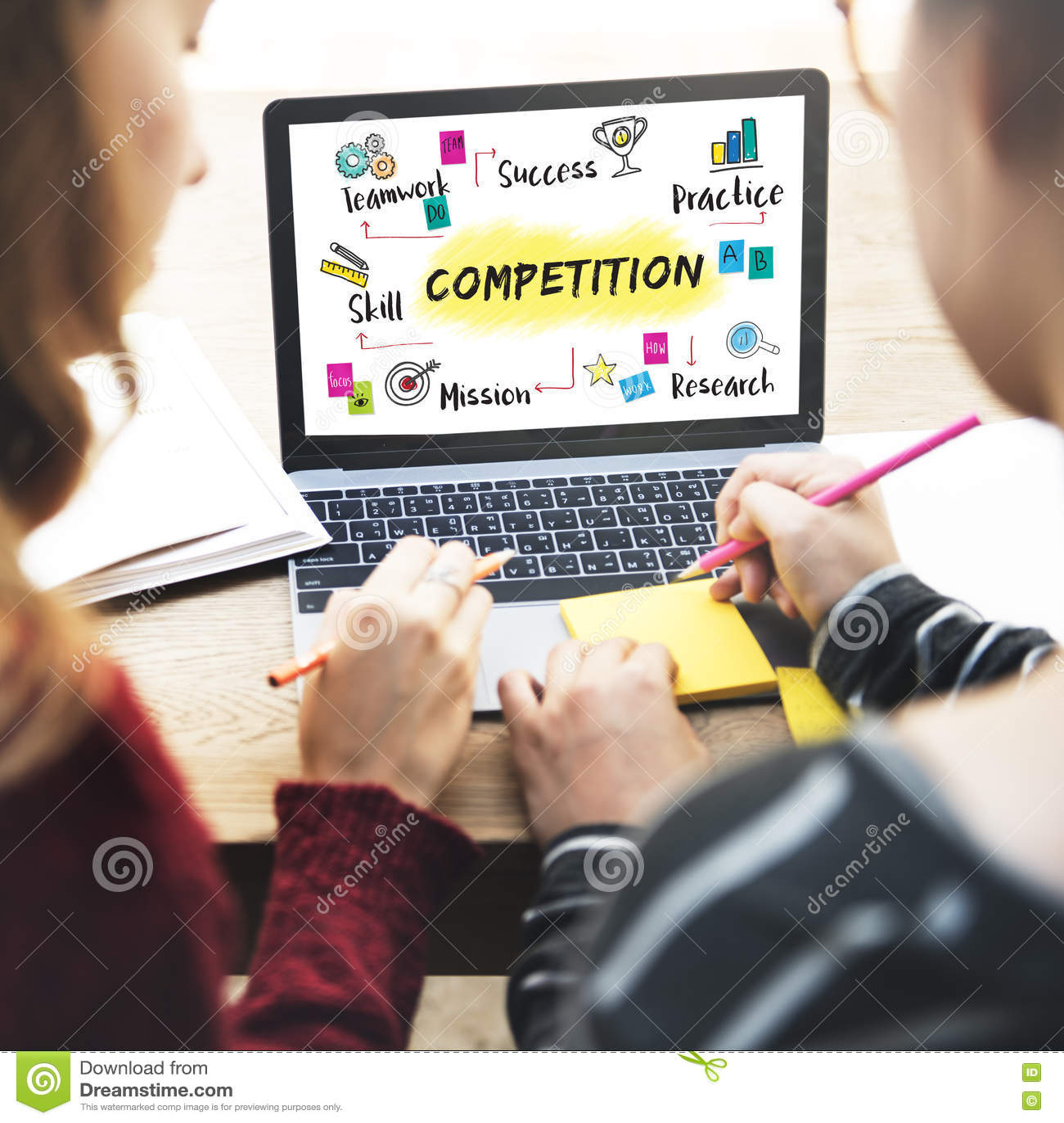 Concepto del desarrollo del éxito del objetivo de la meta de la competencia