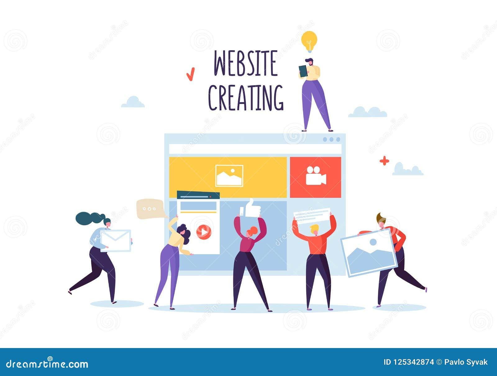 Concepto del desarrollo del sitio web Caracteres planos Team Work Creating Web Page de la gente Aplicación móvil de la interfaz d