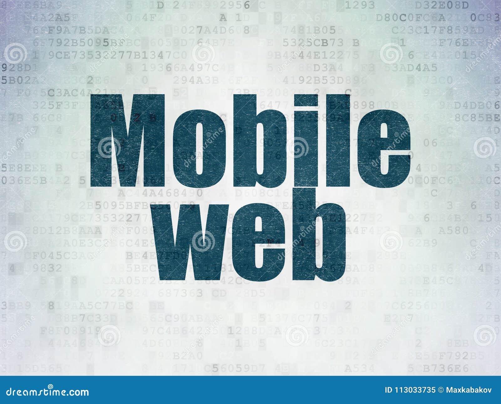 Concepto del desarrollo web: Web móvil en fondo del papel de datos de Digitaces