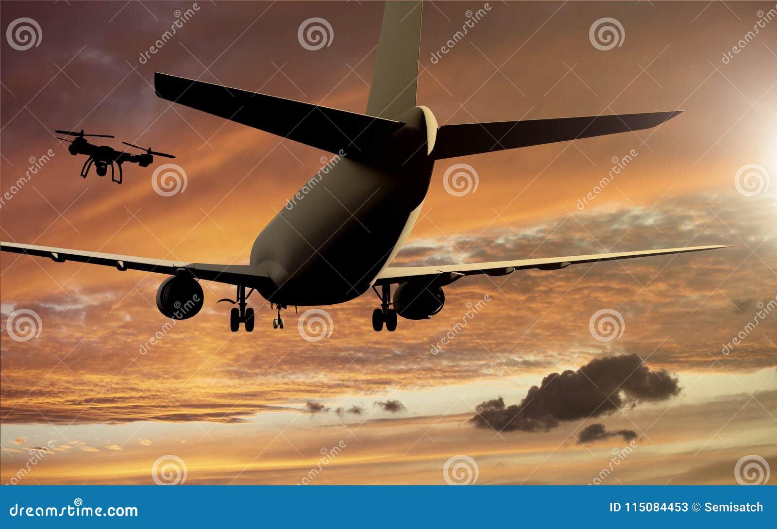 Concepto del desplome de Airplace del abejón - abejón que vuela cerca del aeroplano