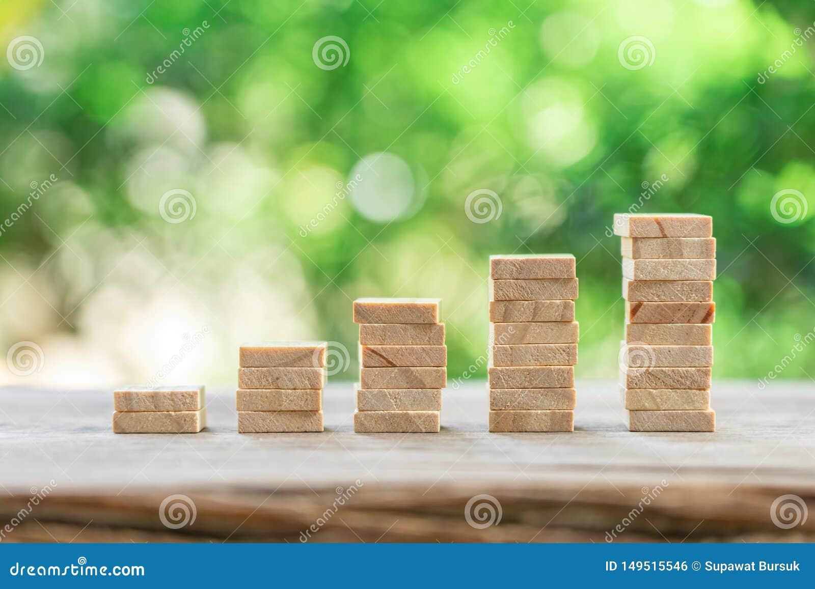 Concepto del dinero, financiero, del negocio del crecimiento, pila de análisis de inversión de madera o inversión El concepto de