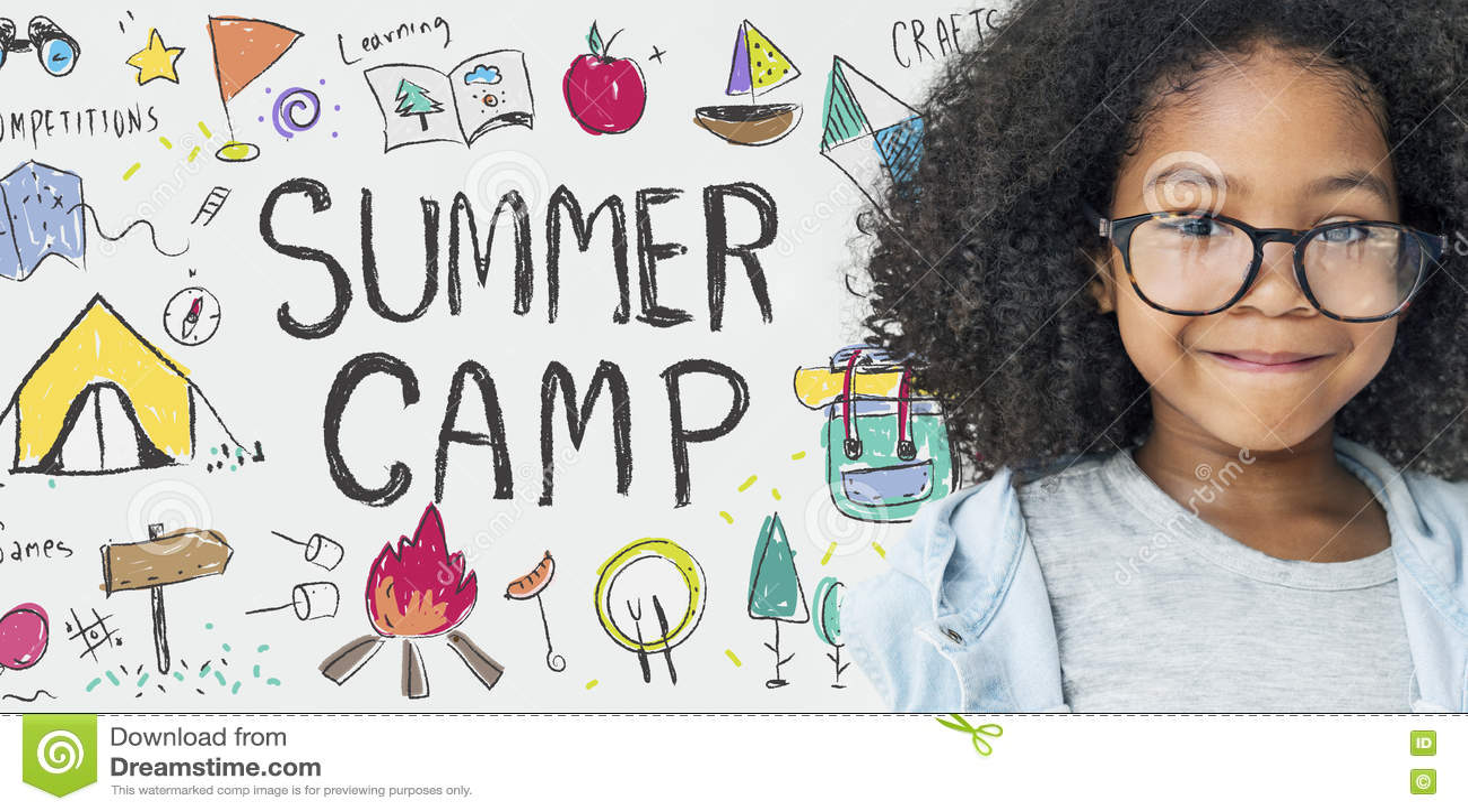 Concepto del disfrute de la exploración de la aventura del campamento de verano