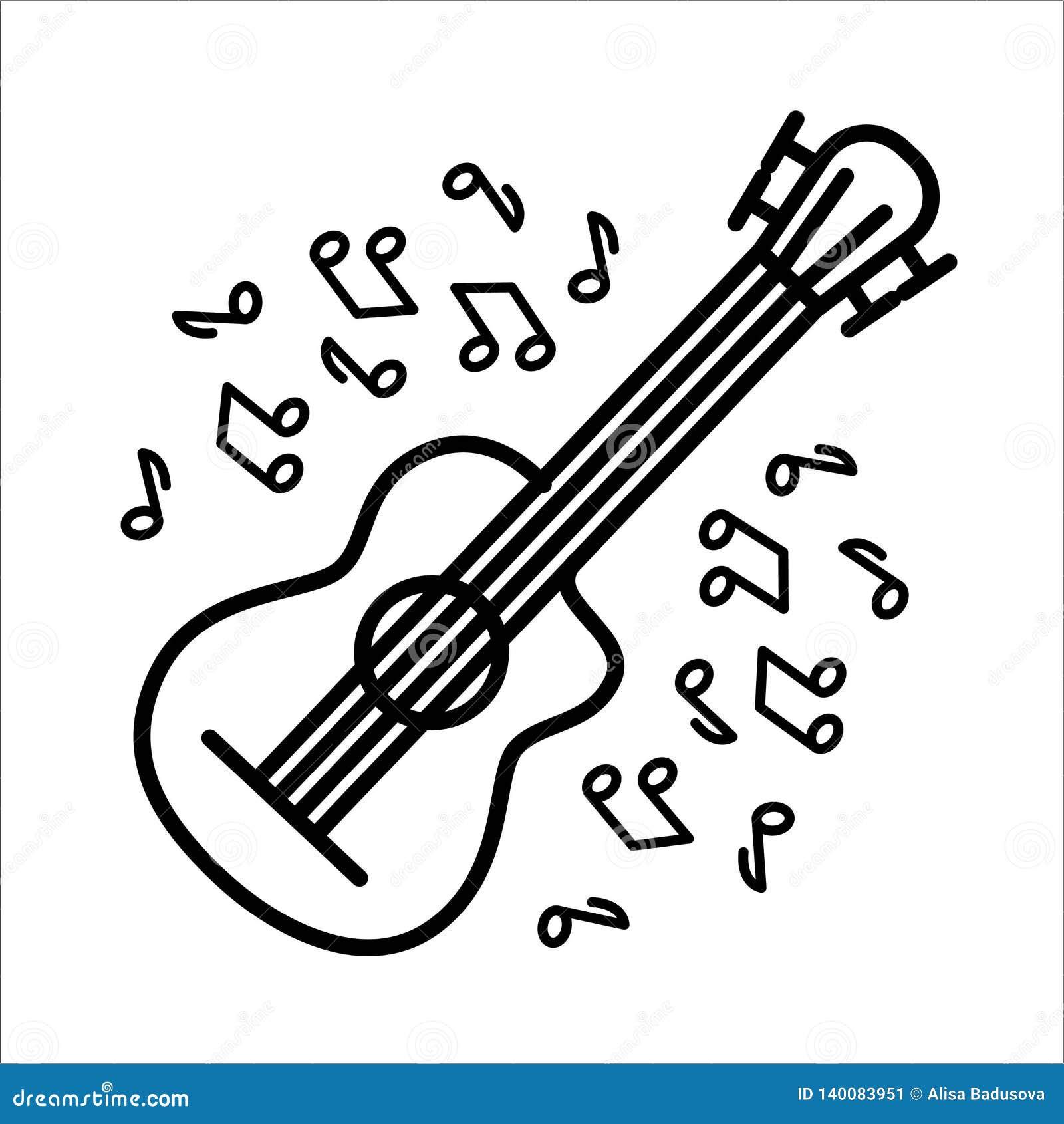 Concepto del ejemplo del vector de instrumento de música de la guitarra de la flauta Negro en el fondo blanco