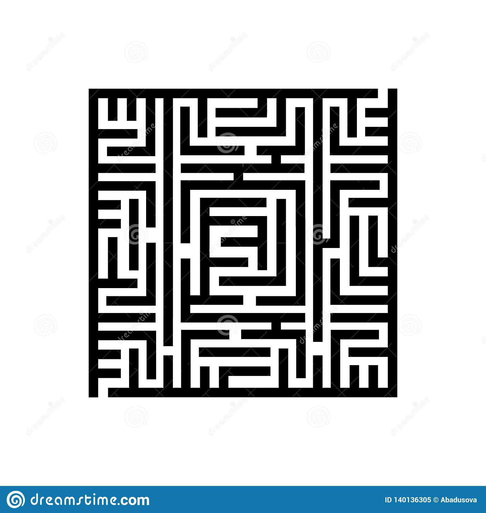 Concepto del ejemplo del vector de laberinto cuadrado del laberinto Icono en el fondo blanco