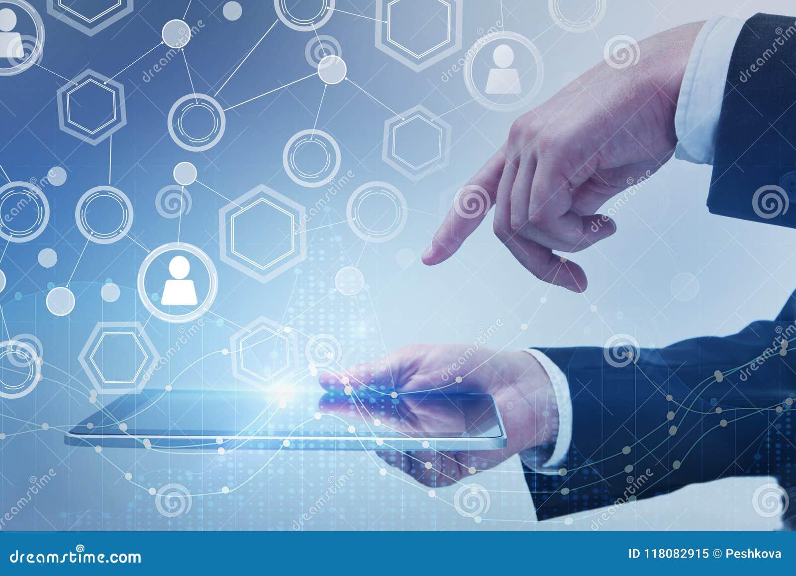 Concepto del futuro, de la comunicación y de la innovación