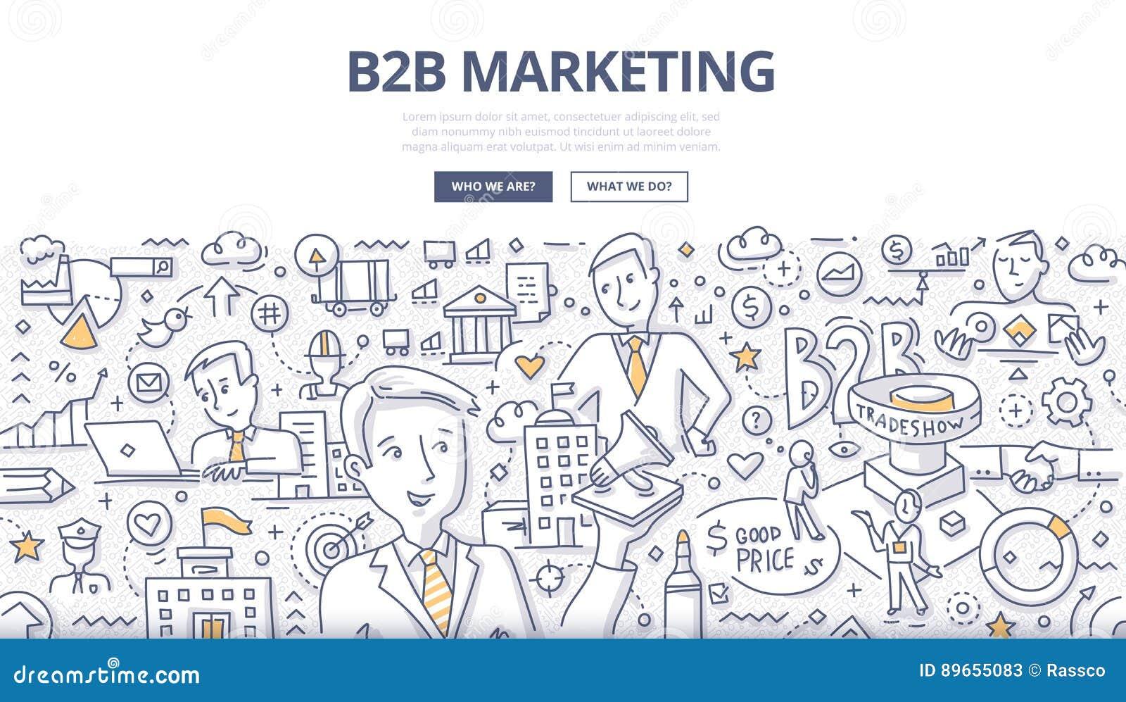 Concepto del garabato del márketing de B2B