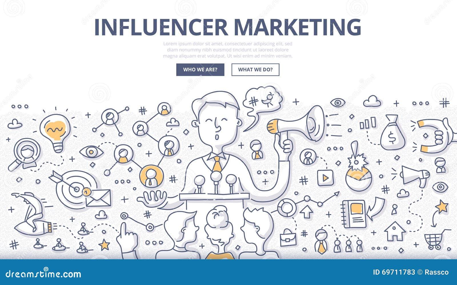 Concepto del garabato del márketing de Influencer