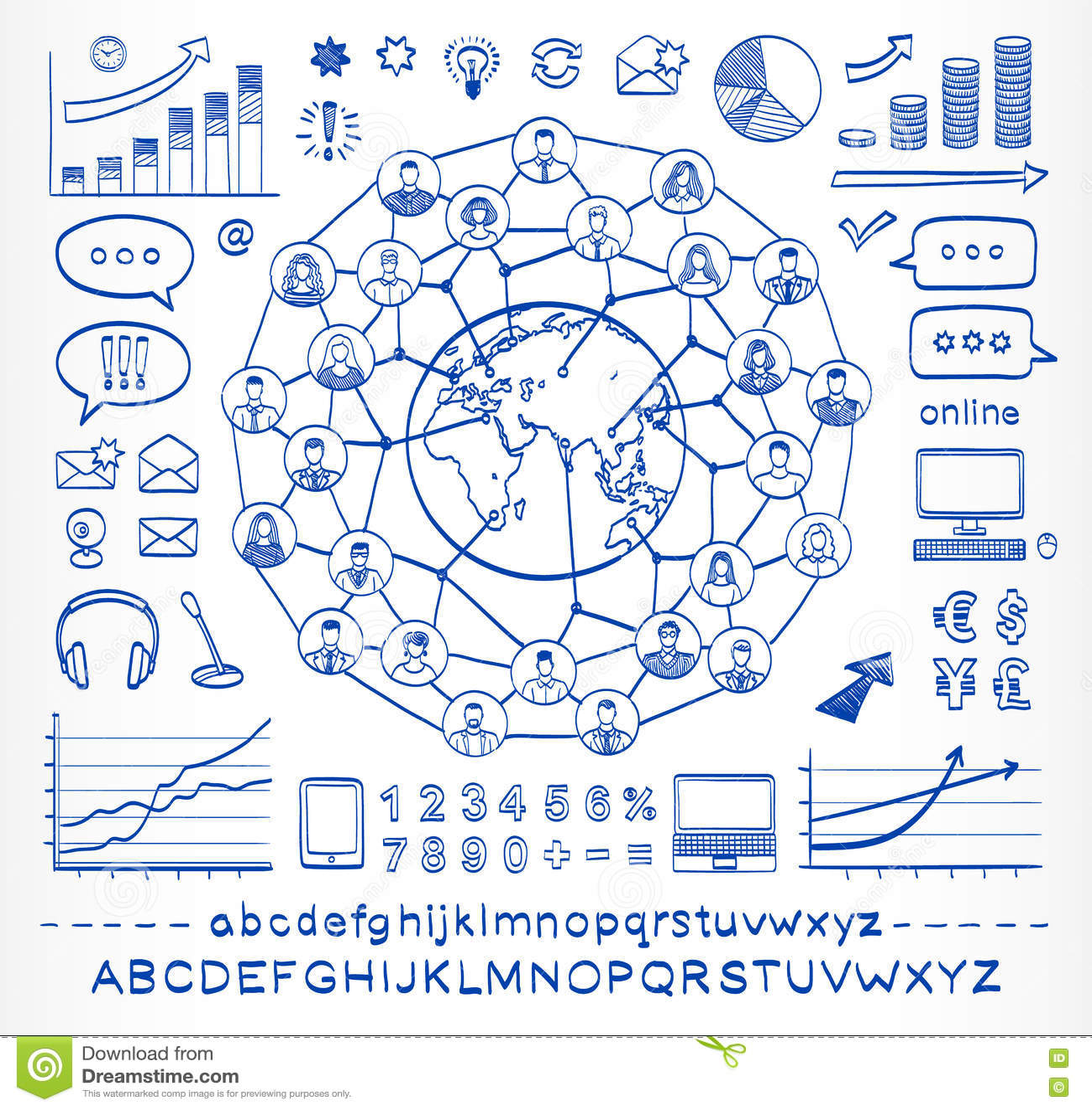 Concepto del garabato del negocio de gente de conexión