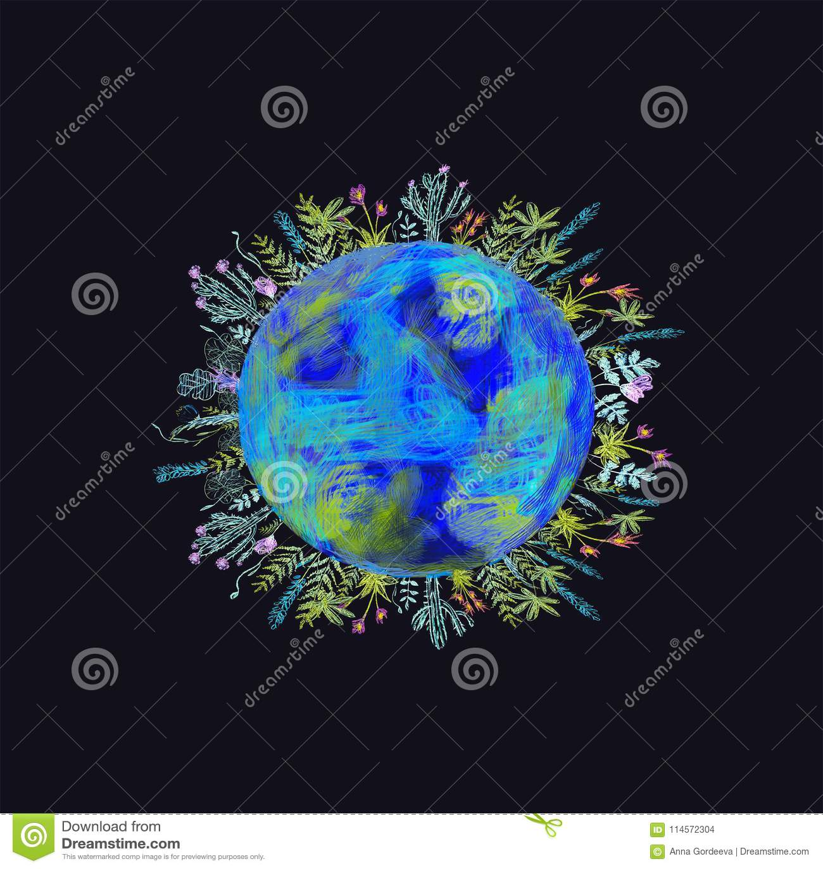 Concepto del globo que muestra un estilo del verde, pacífico e idílico de vida en el mundo en un estilo de la historieta