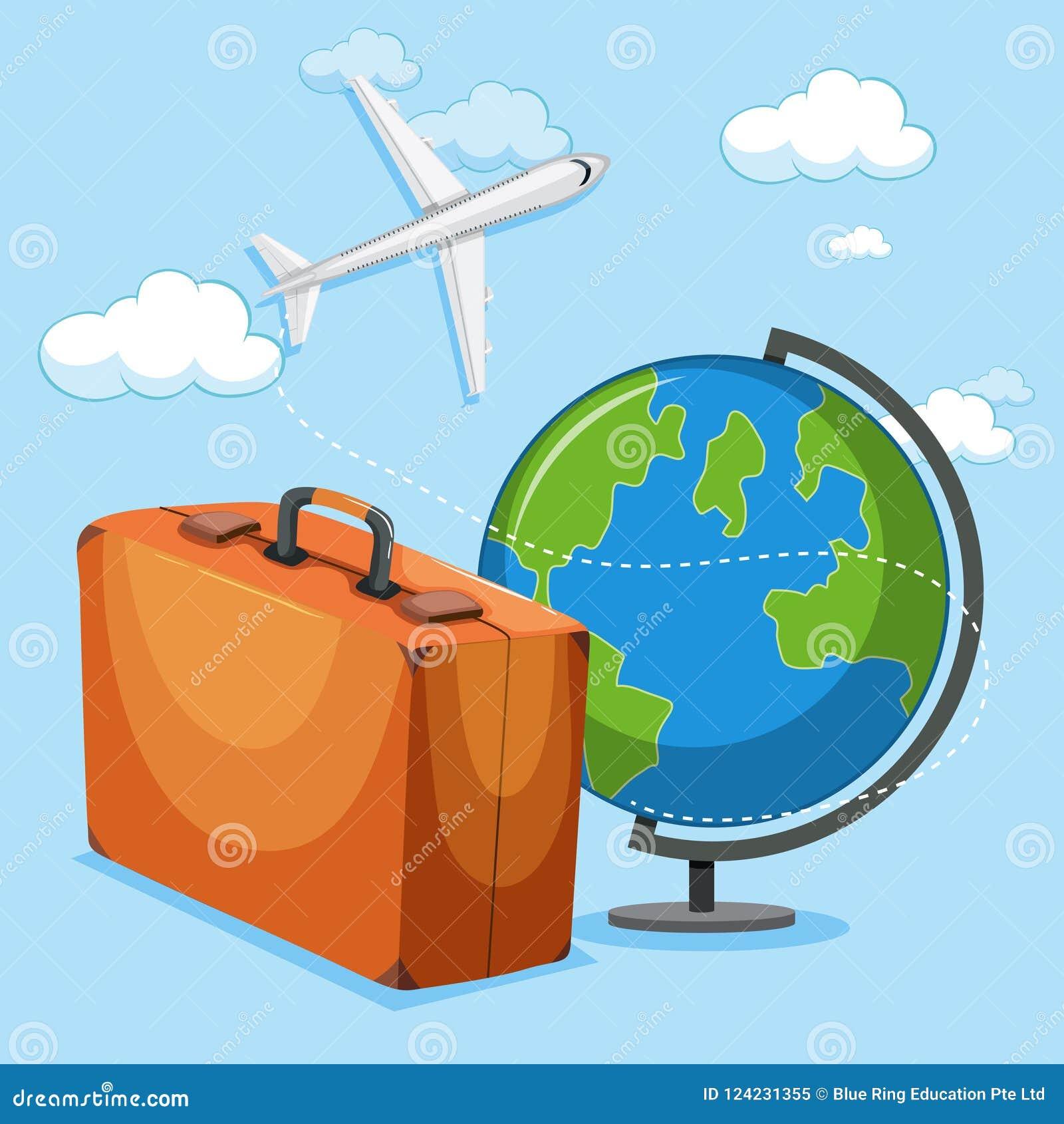 Concepto del globo y del equipaje del aeroplano
