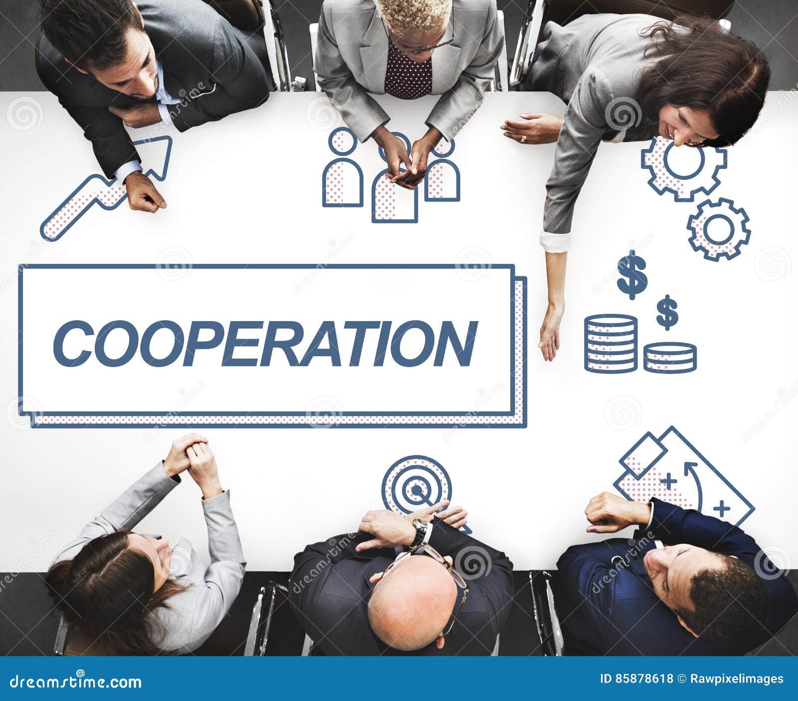 Concepto del gráfico de la colaboración del acuerdo del negocio de la cooperación