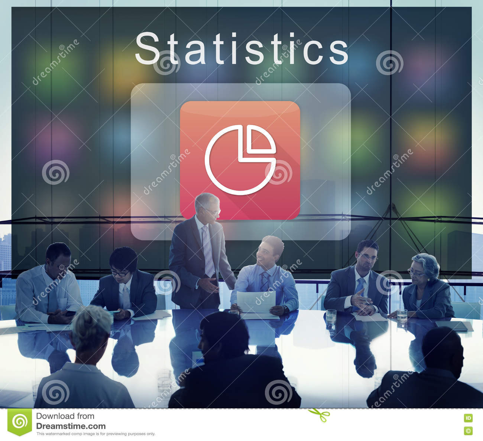 Concepto del gráfico de sectores de las estadísticas de la corporación