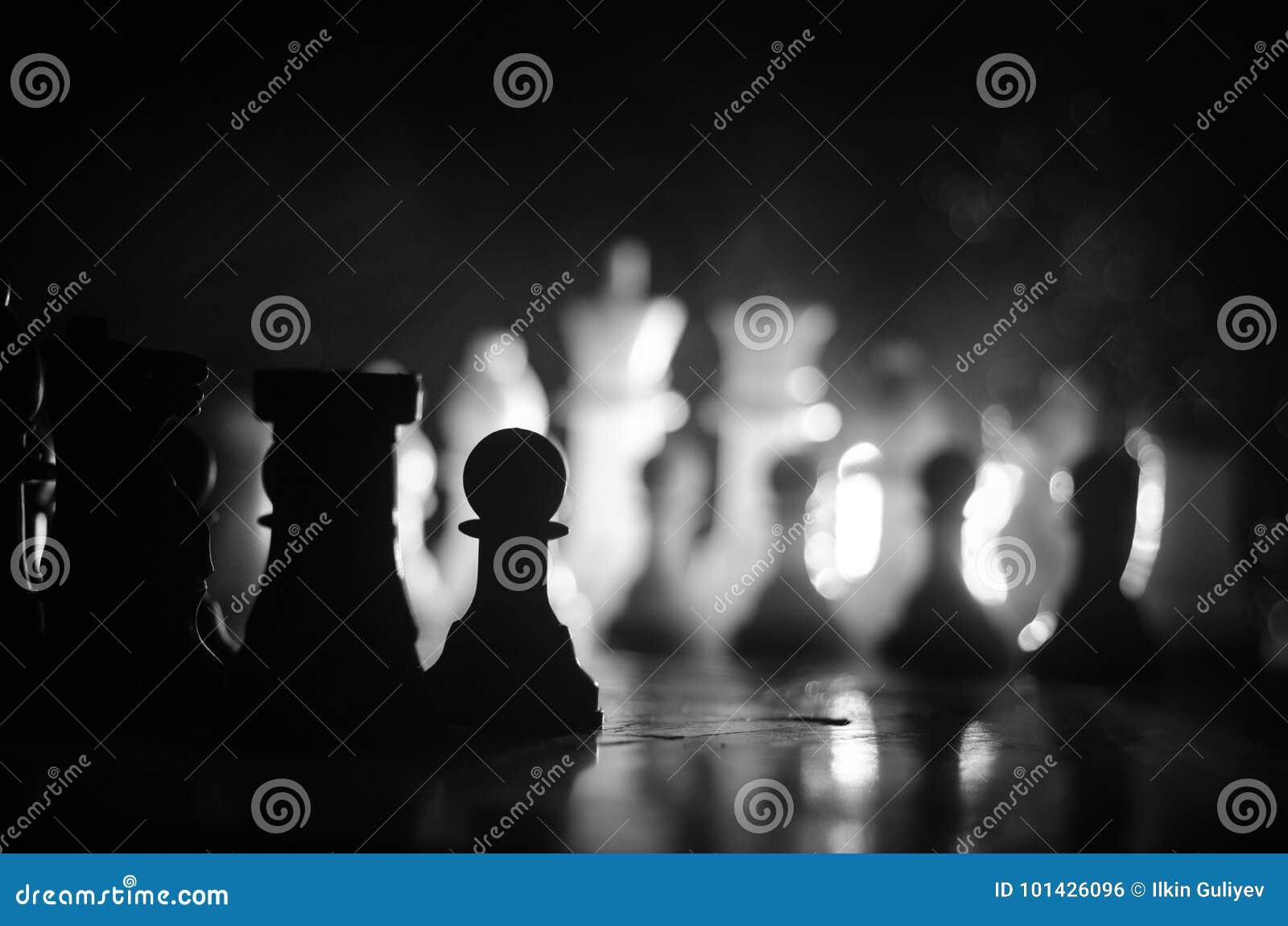 Concepto del juego de mesa del ajedrez de concep de las ideas del negocio y de las ideas de la competencia y de la estrategia El