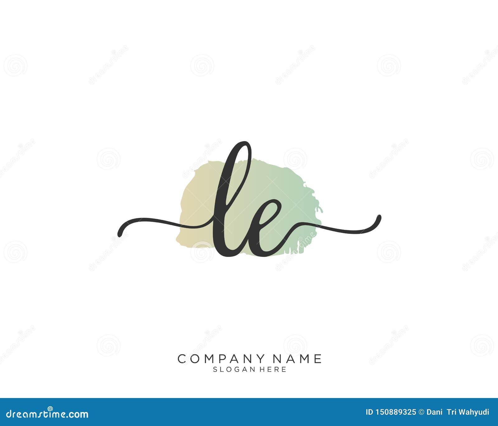 Concepto del logotipo de la escritura de LE Initial