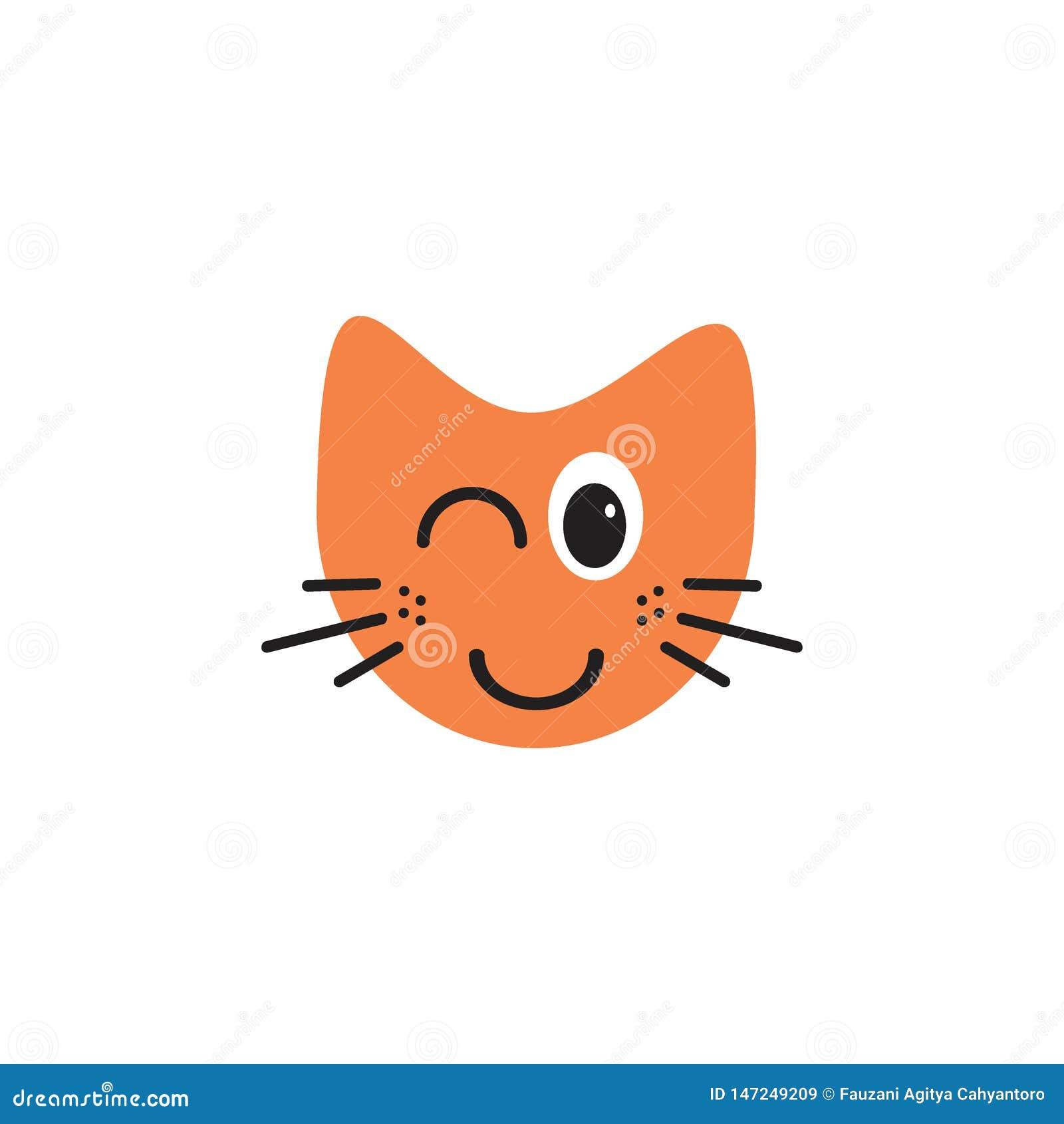 Concepto del logotipo del ejemplo del emoticon del gato que destella