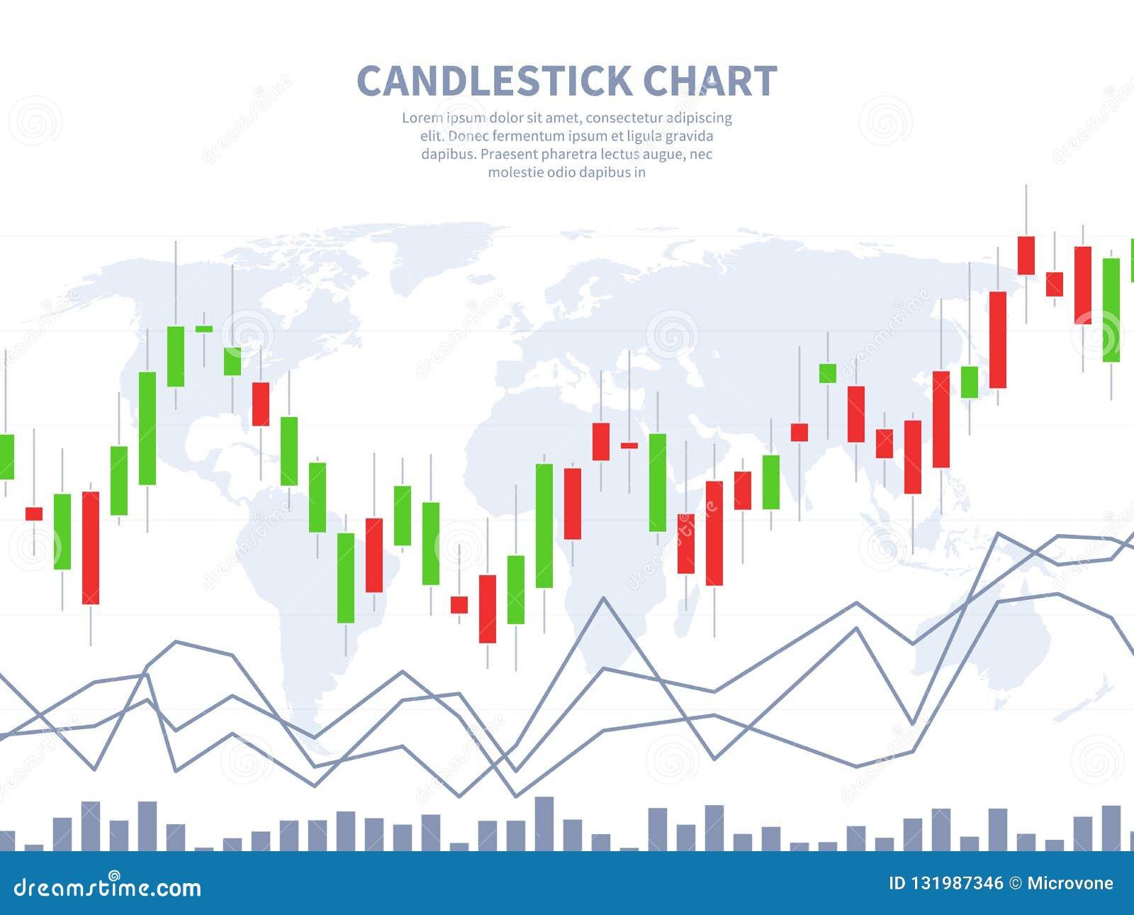 Concepto del mercado de acción Mapa del mundo de la carta del palillo de la vela Márketing financiero global, divisa del extracto