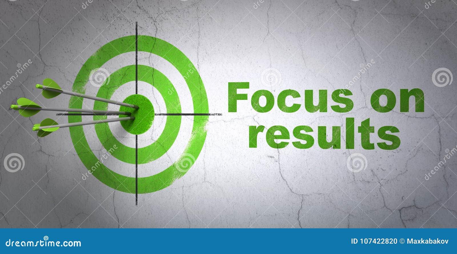 Concepto del negocio: blanco y foco en RESULTADOS en fondo de la pared