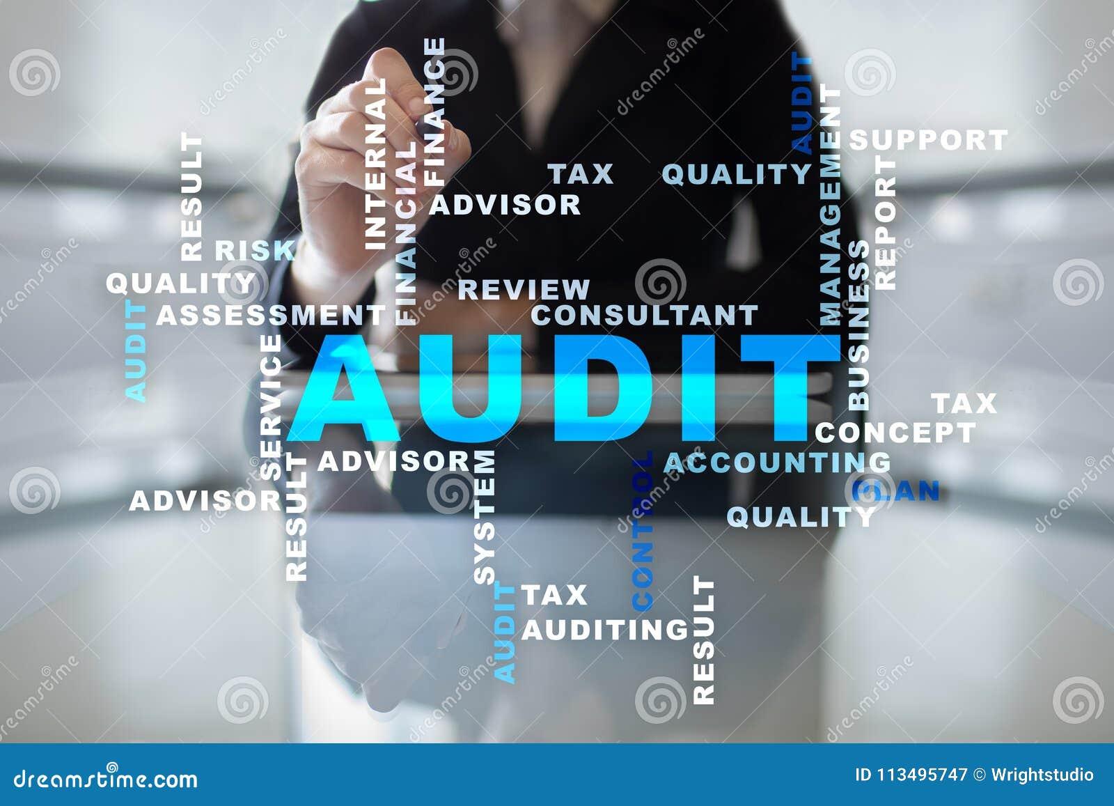 Concepto del negocio de la auditoría interventor conformidad Tecnología de la pantalla virtual Nube de las palabras