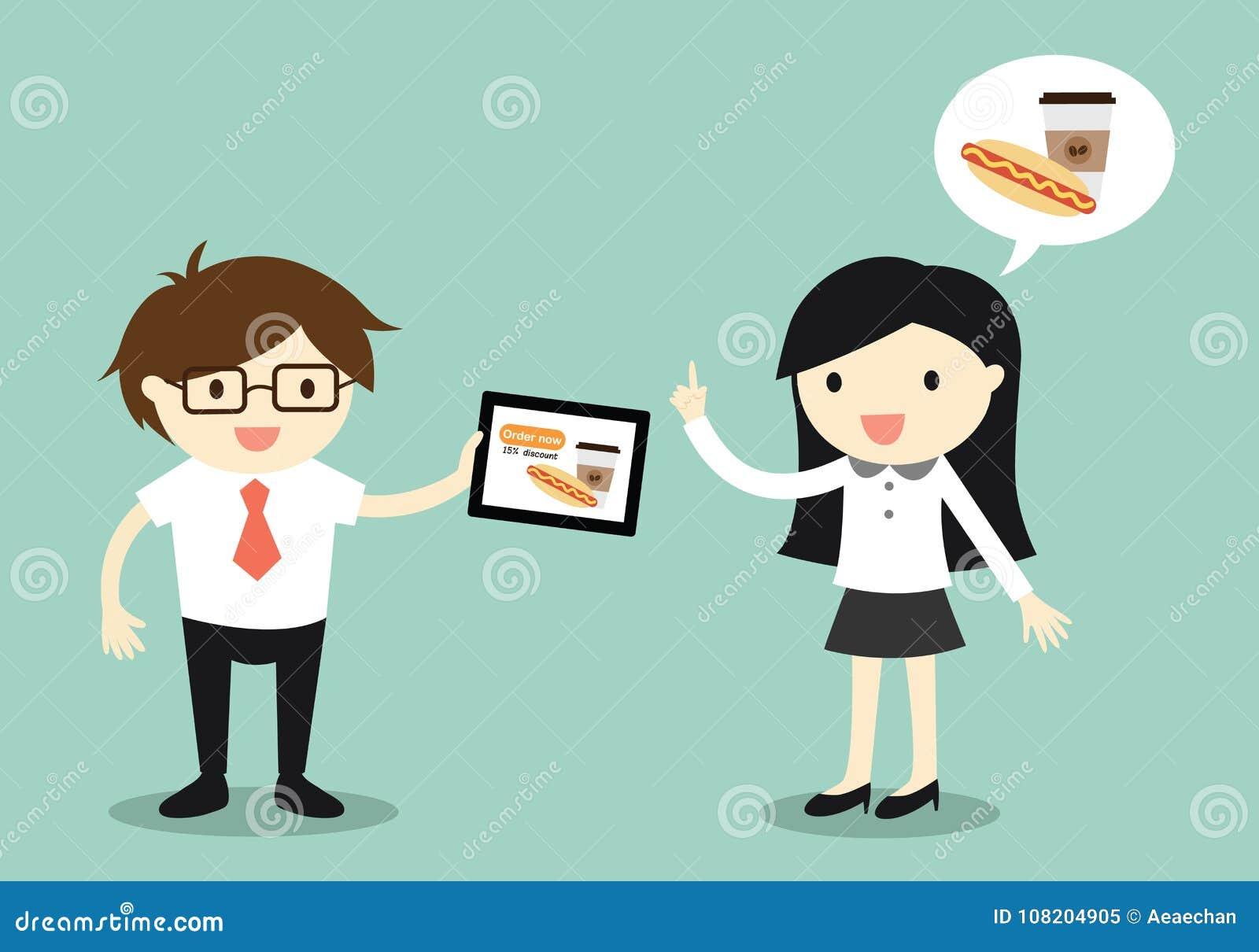 Concepto del negocio, mujer de negocios y hombre de negocios que van a pedir la comida en línea