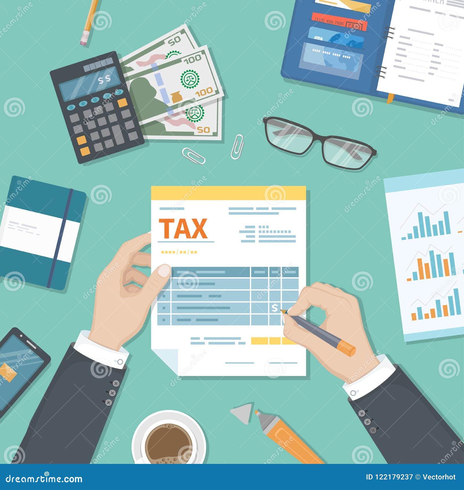Concepto del pago de impuestos Impuestos del gobierno estatal, cálculo de la declaración de impuestos El hombre rellena el impres