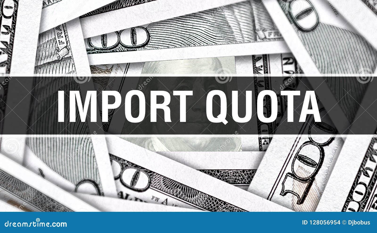 Concepto del primer del cupo de importaciones Dólares americanos de dinero del efectivo, representación 3D Cupo de importaciones