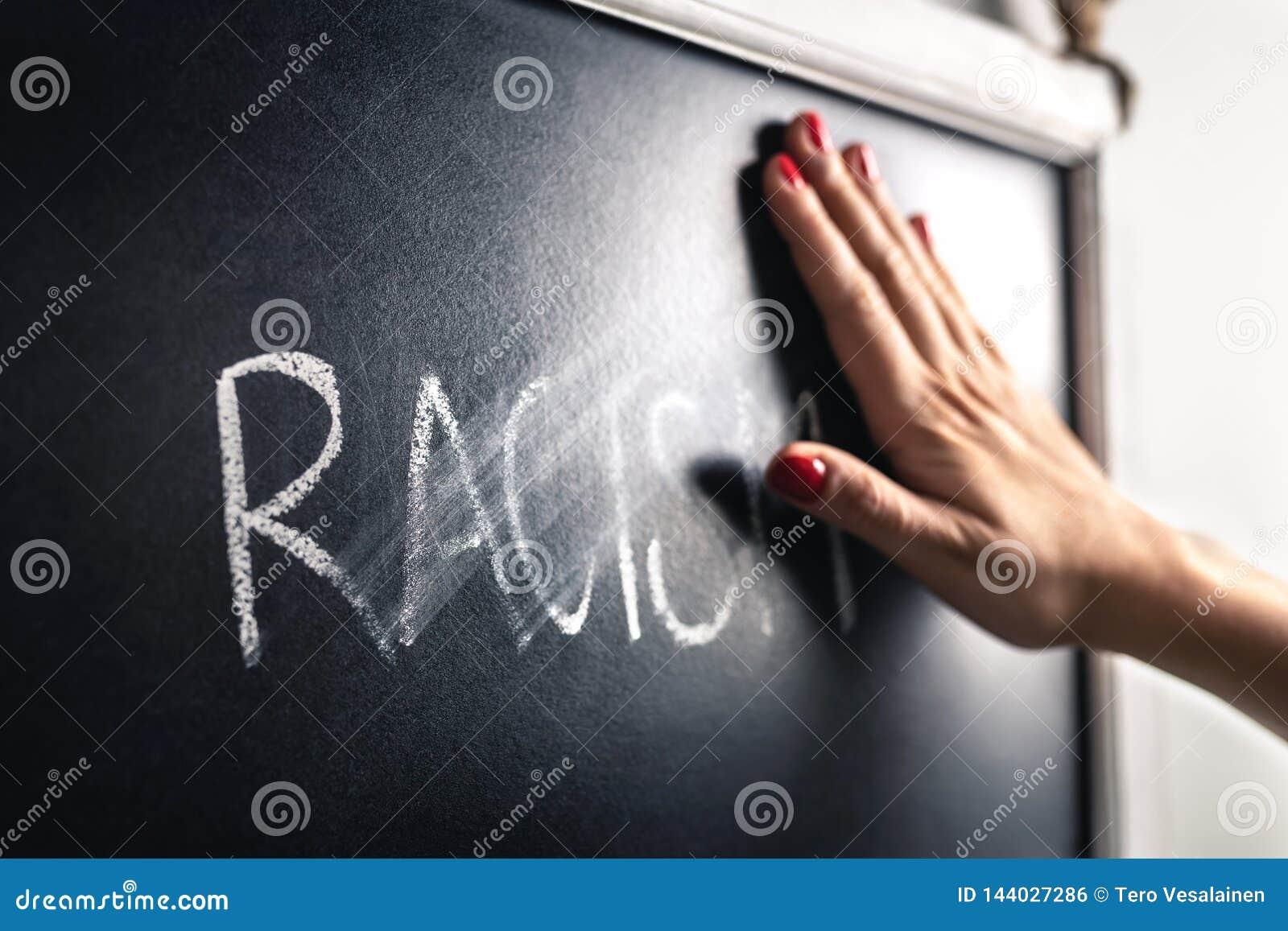 Concepto del racismo Pare el odio y la discriminación Contra perjuicio y violencia Mano que limpia apagado y que borra la palabra