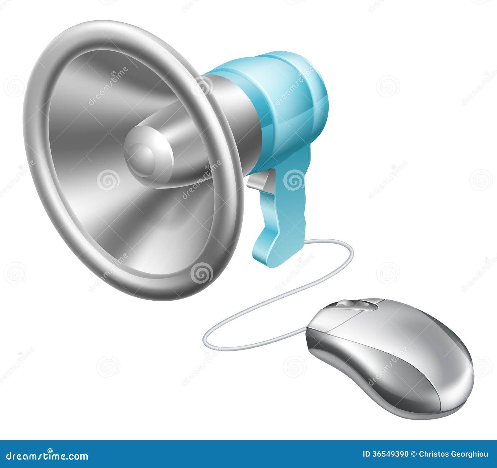 Concepto del ratón del megáfono