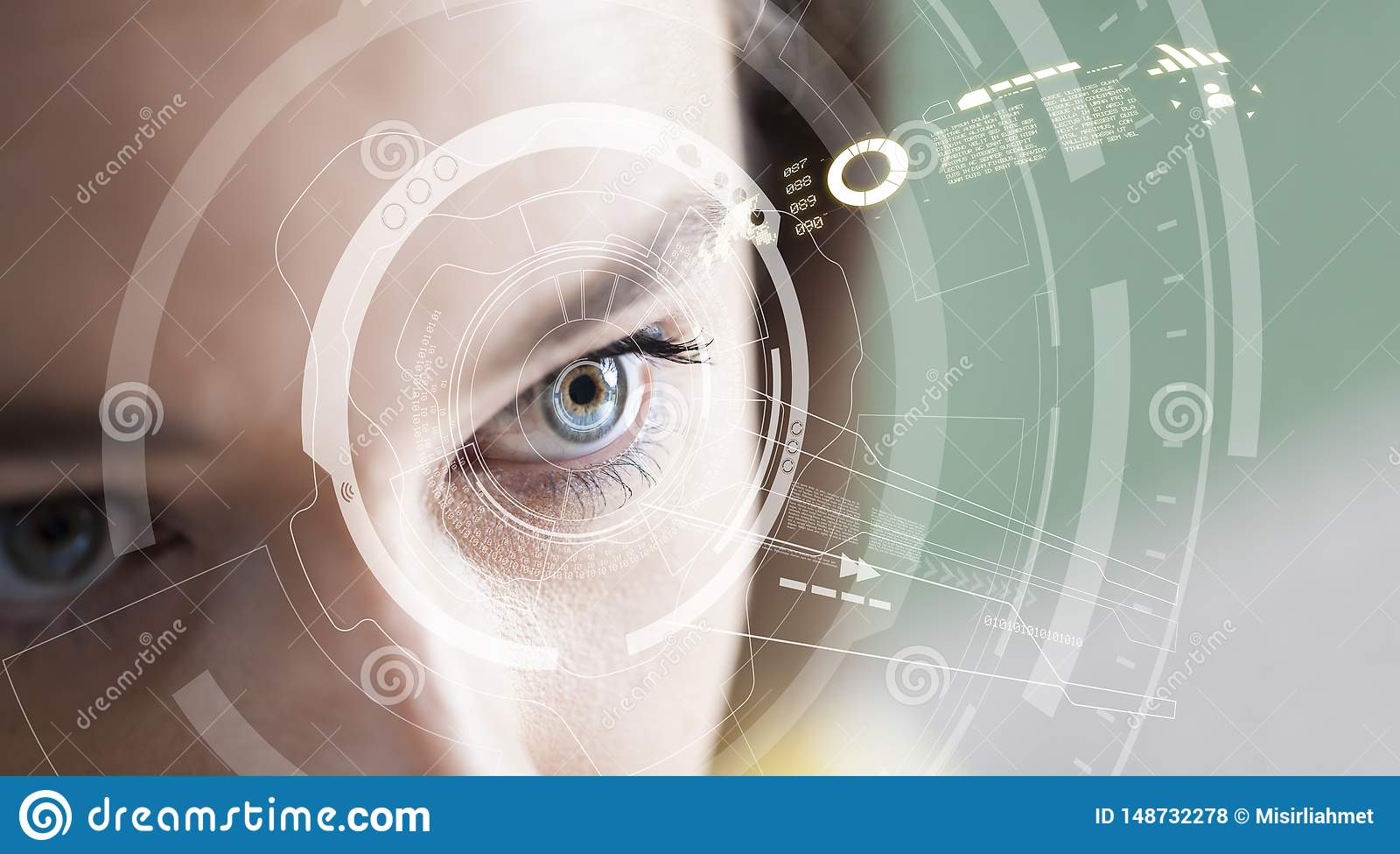 Concepto del reconocimiento del iris Ordenador ojo-compatible usable