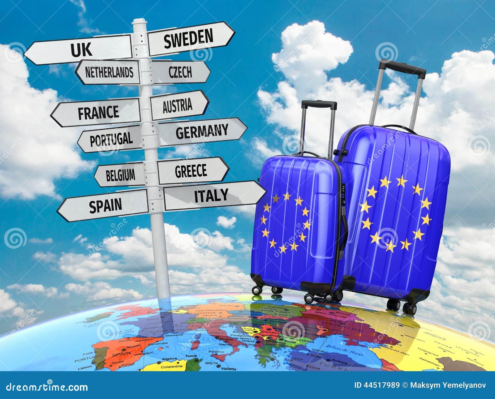 Concepto del recorrido Maletas y poste indicador qué a visitar en Europa