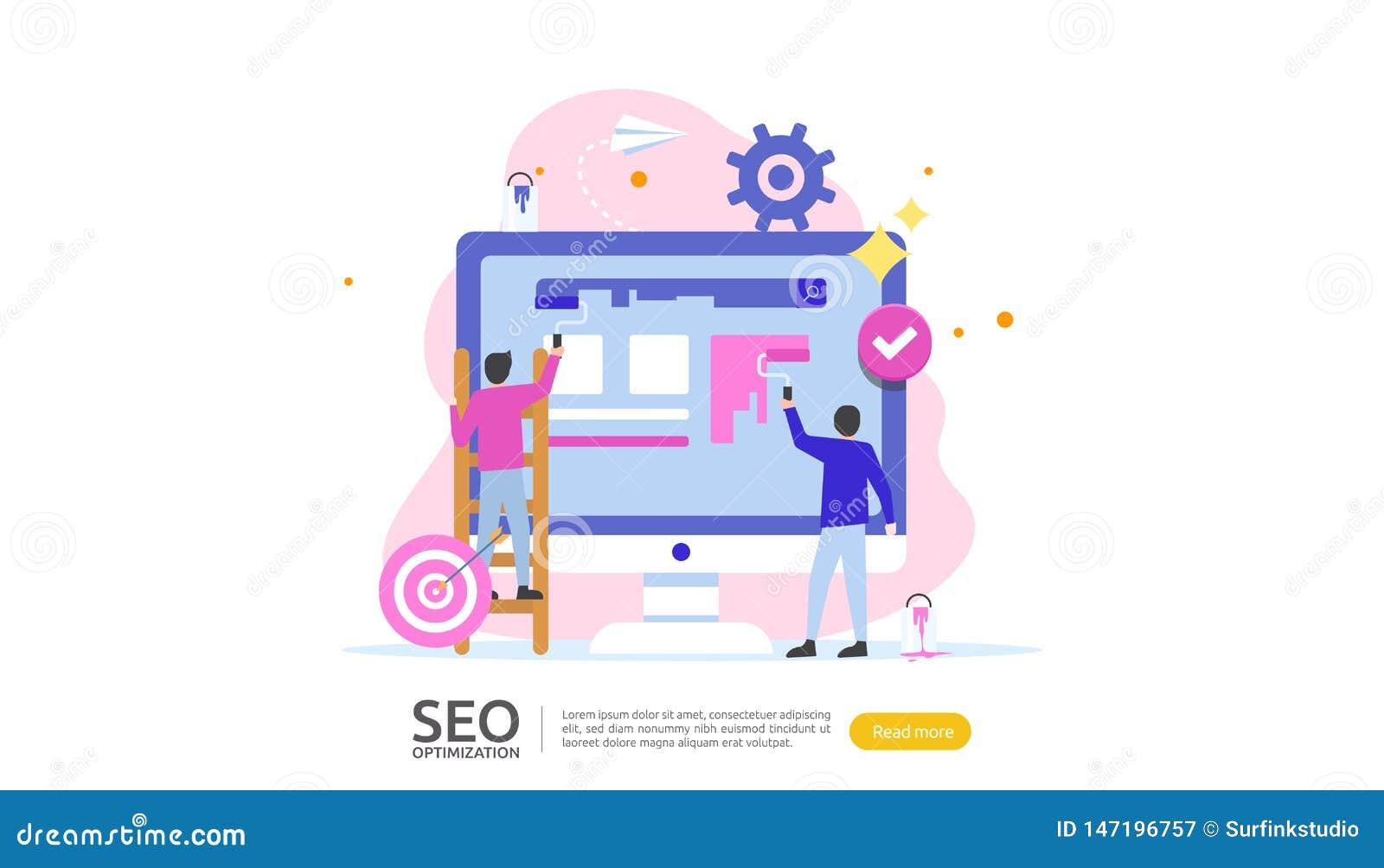Concepto del resultado de la optimización del motor de SEO Search graduación de la página web, publicidad, carácter de la gente d