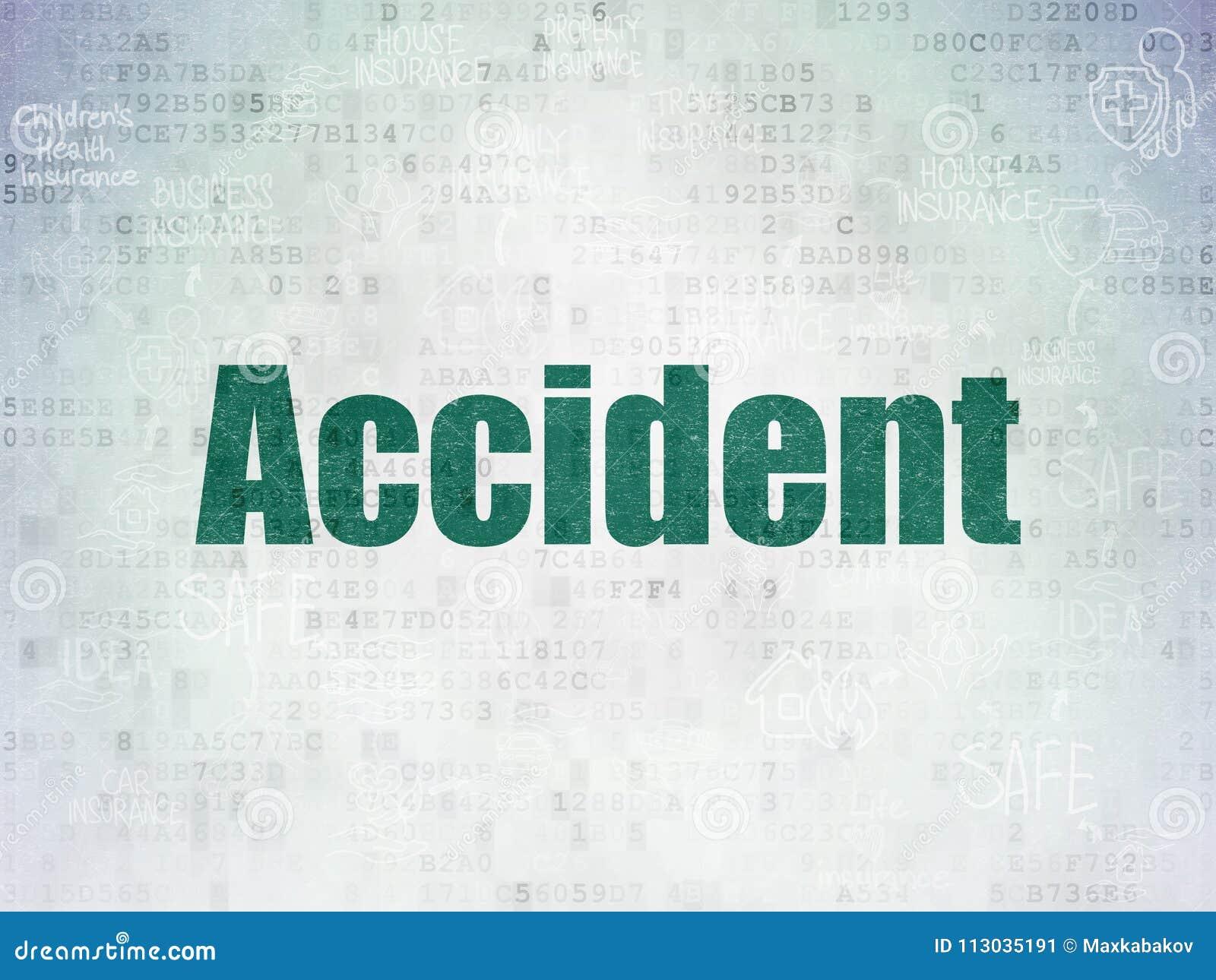 Concepto del seguro: Accidente en fondo del papel de datos de Digitaces