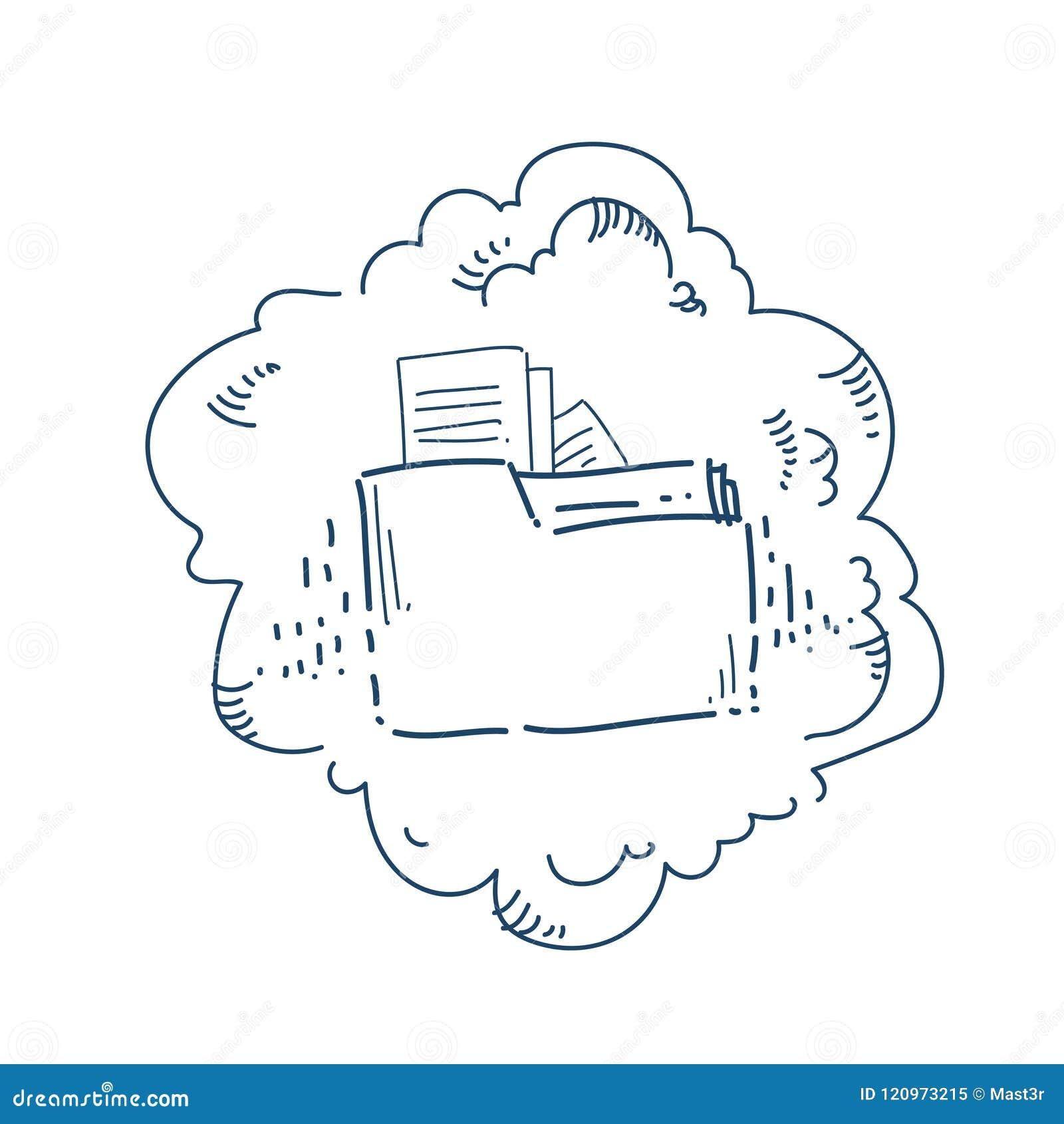 Concepto del servicio del compartir archivos de la carpeta del almacenamiento de datos de la nube sobre la bandera blanca del gar