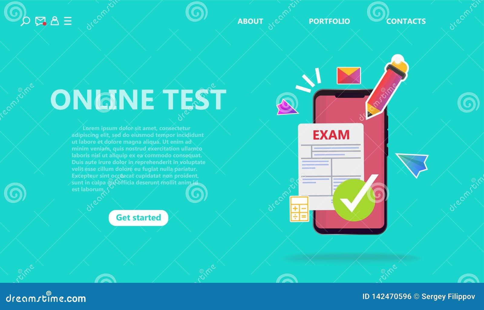 Concepto del servicio de la prueba en línea o del examen
