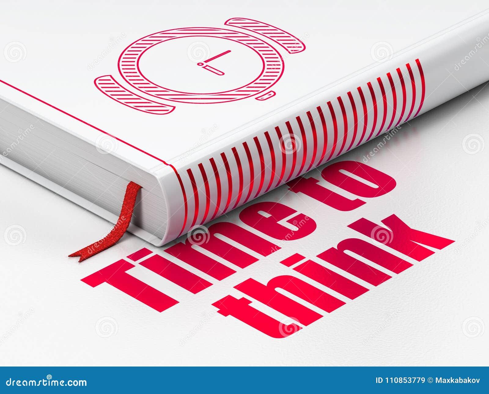Concepto del tiempo: reloj de la mano de libro, hora de pensar en el fondo blanco