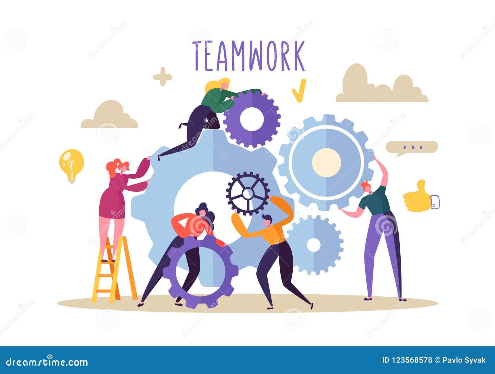 Concepto del trabajo en equipo del asunto Caracteres planos de la gente que corren el mecanismo de engranajes Desarrollo de produ