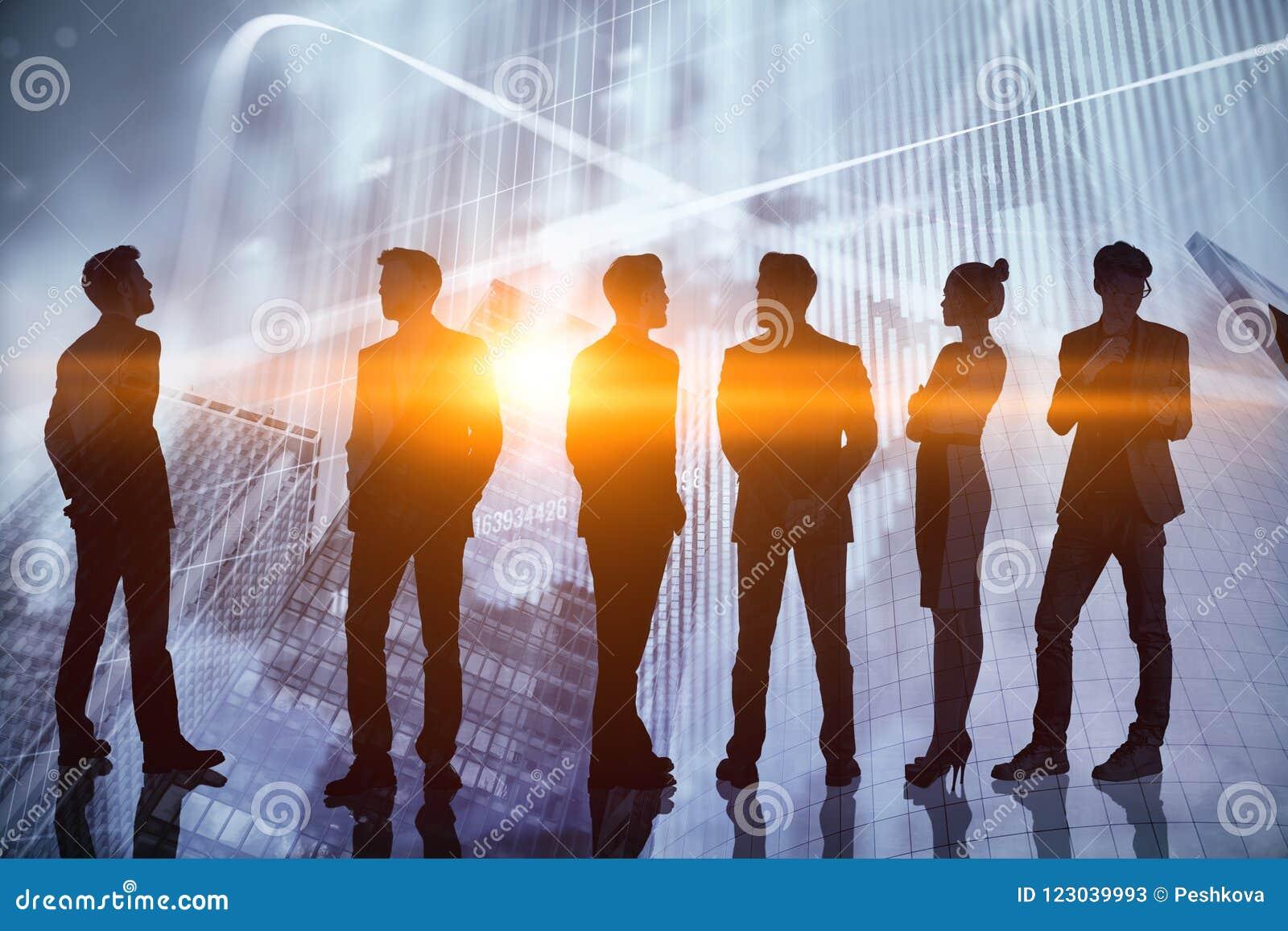 Concepto del trabajo en equipo, de las finanzas y de la economía
